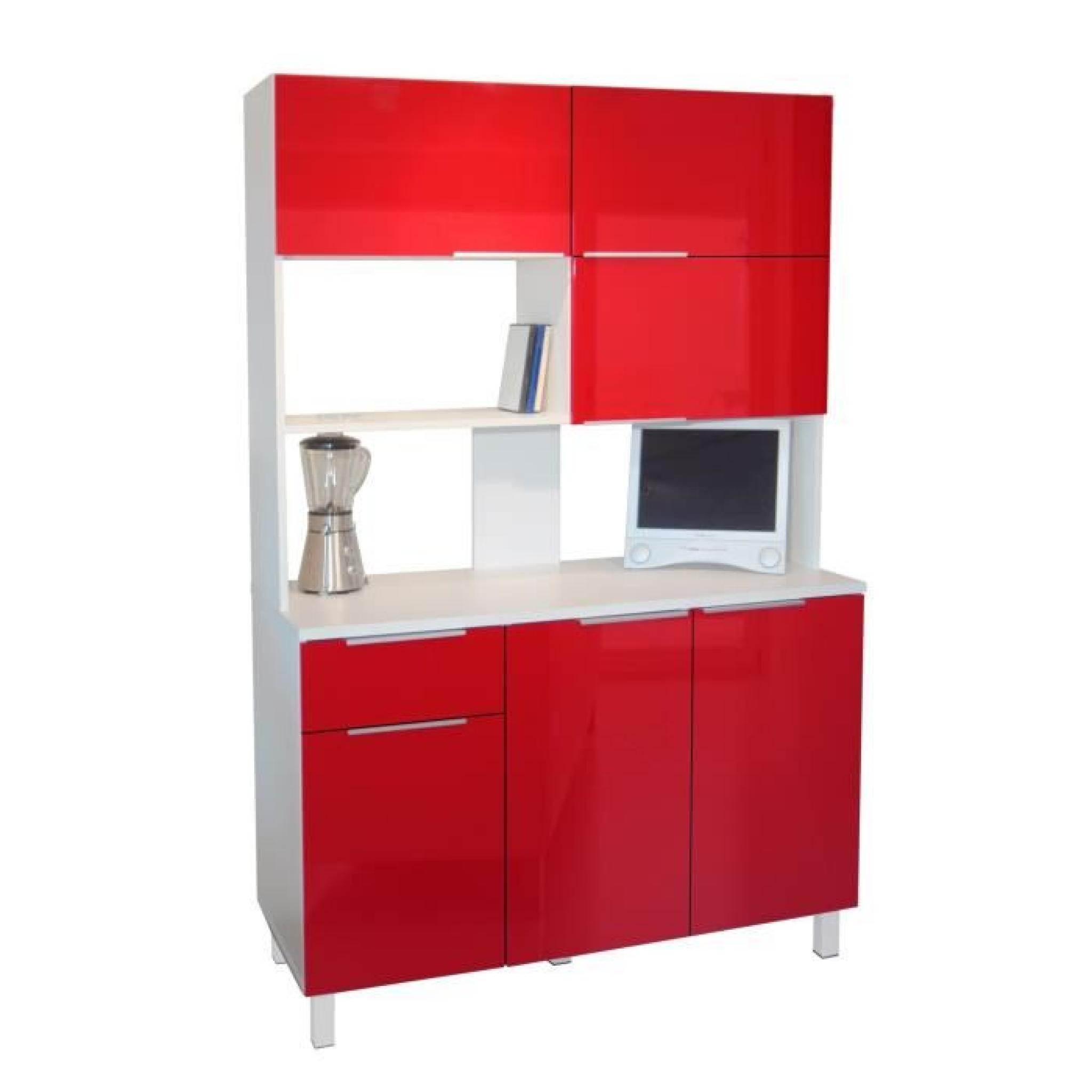 Lova buffet de cuisine 120 cm rouge haute brillance achat vente buffet de cuisine pas cher for Buffet cuisine pas cher d occasion