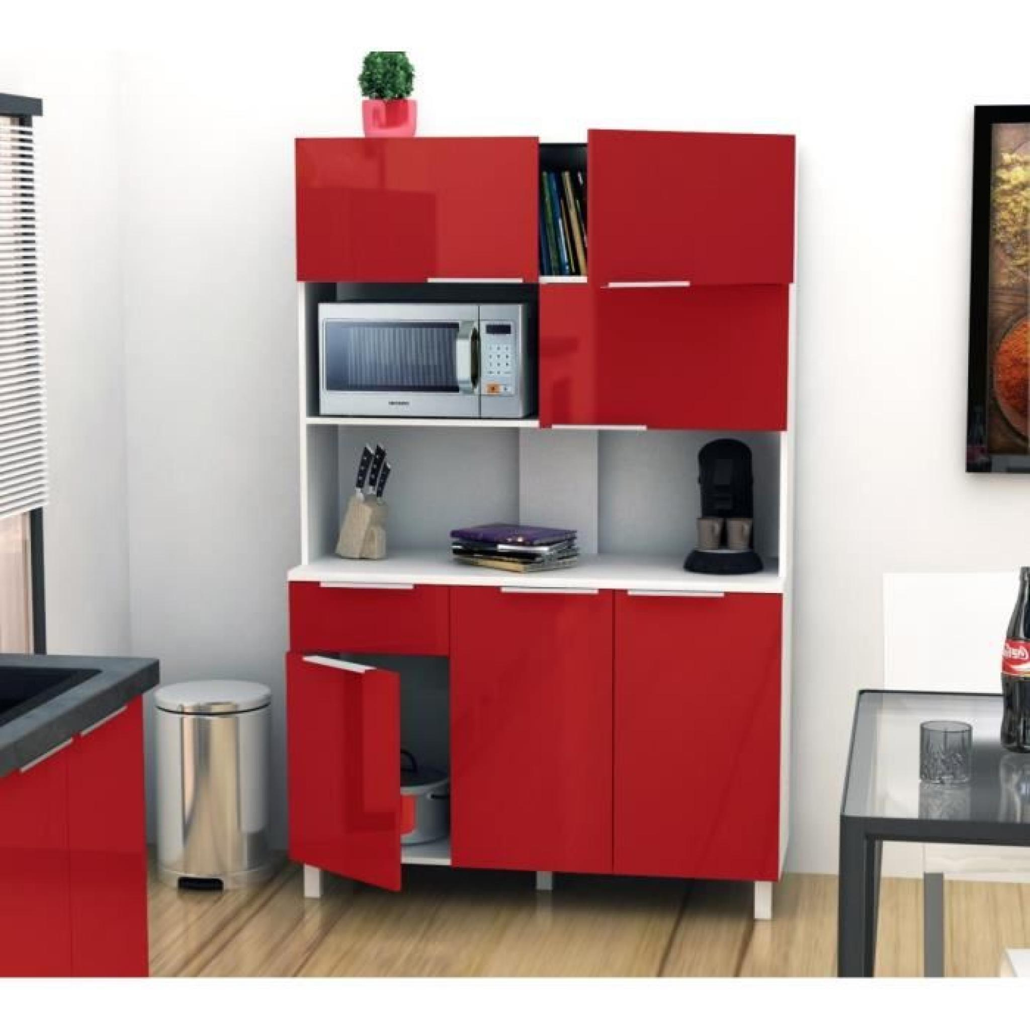 Lova buffet de cuisine 120 cm rouge haute brillance - Buffet de cuisine but ...