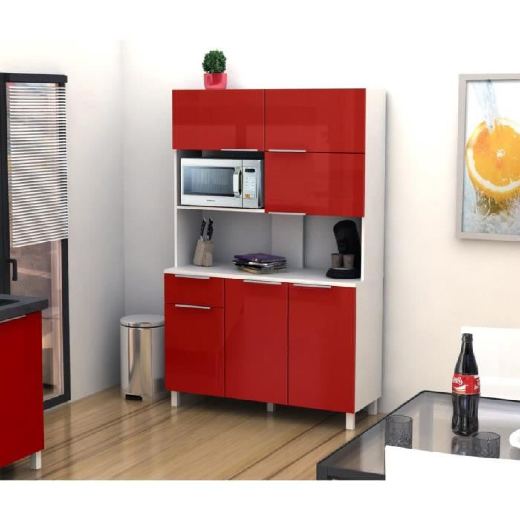 Lova buffet de cuisine 120 cm rouge haute brillance for Meuble buffet cuisine