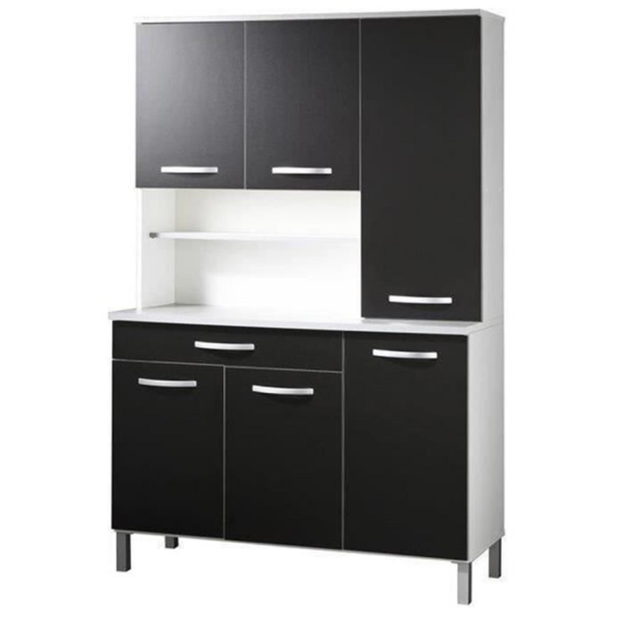 Buffet de cuisine avec 14 portes et tiroir coloris blanc et noir, H 14 x L  14 x P 14 cm