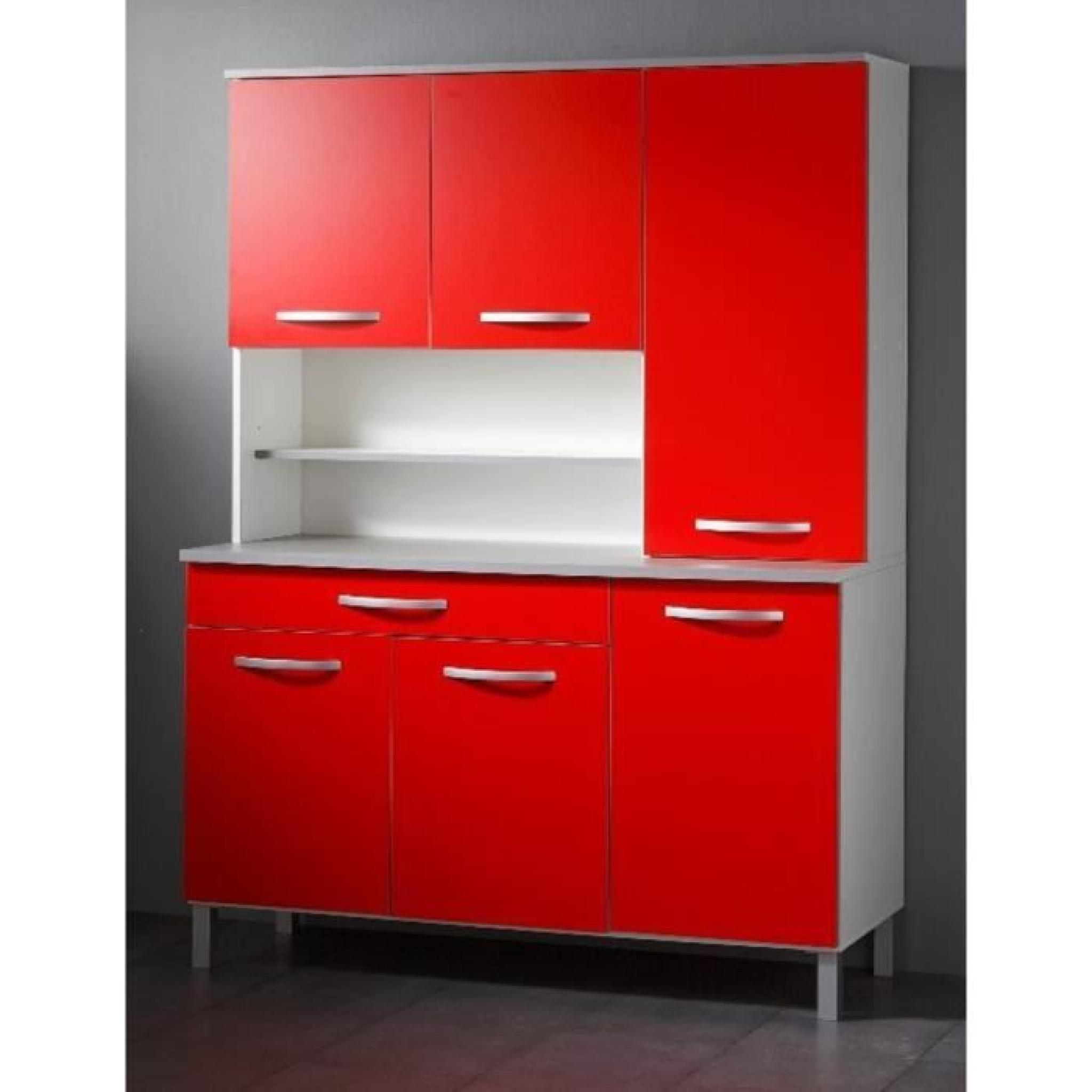 buffet de cuisine coloris blanc et rouge avec 6 portes et 1 tiroir h 184 x l 101 x p 42 cm. Black Bedroom Furniture Sets. Home Design Ideas