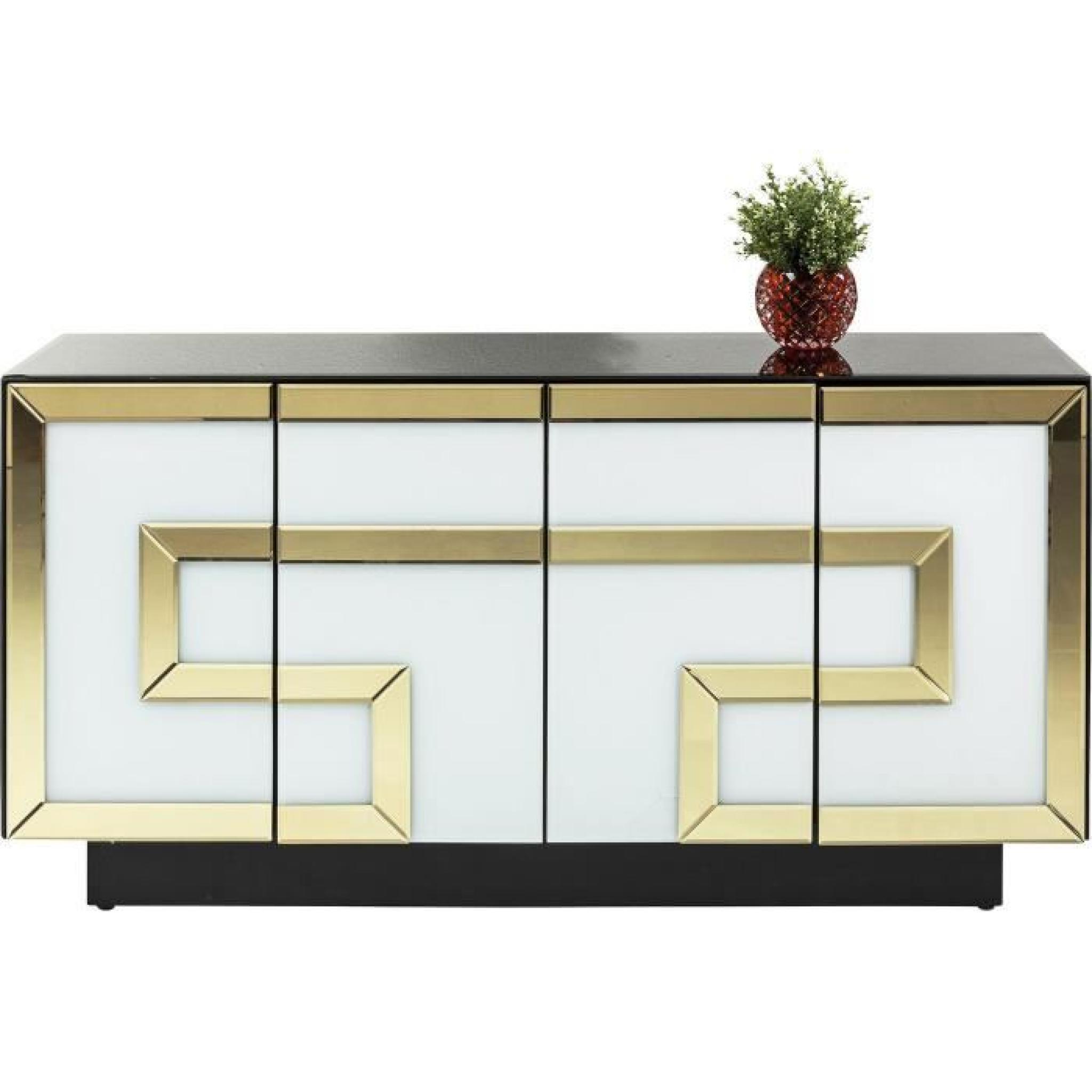 Buffet Design Verre Blanc Or Noir 4 Portes Achat Vente Buffet  # Buffet Bas Noir Portes Verre