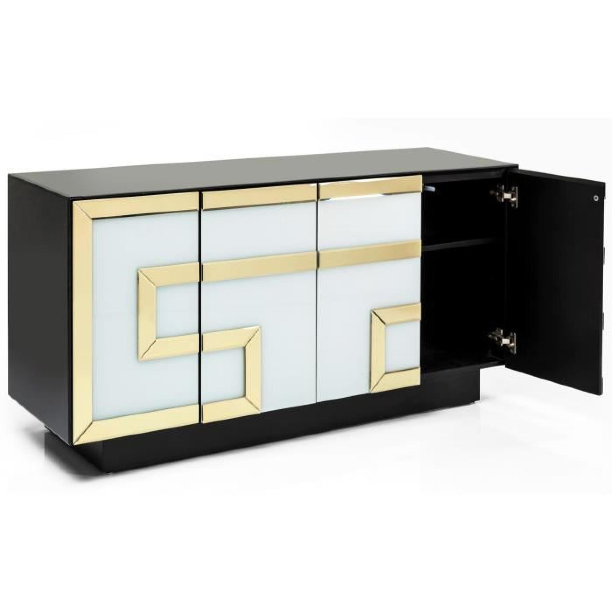buffet design verre blanc or noir 4 portes achat vente. Black Bedroom Furniture Sets. Home Design Ideas