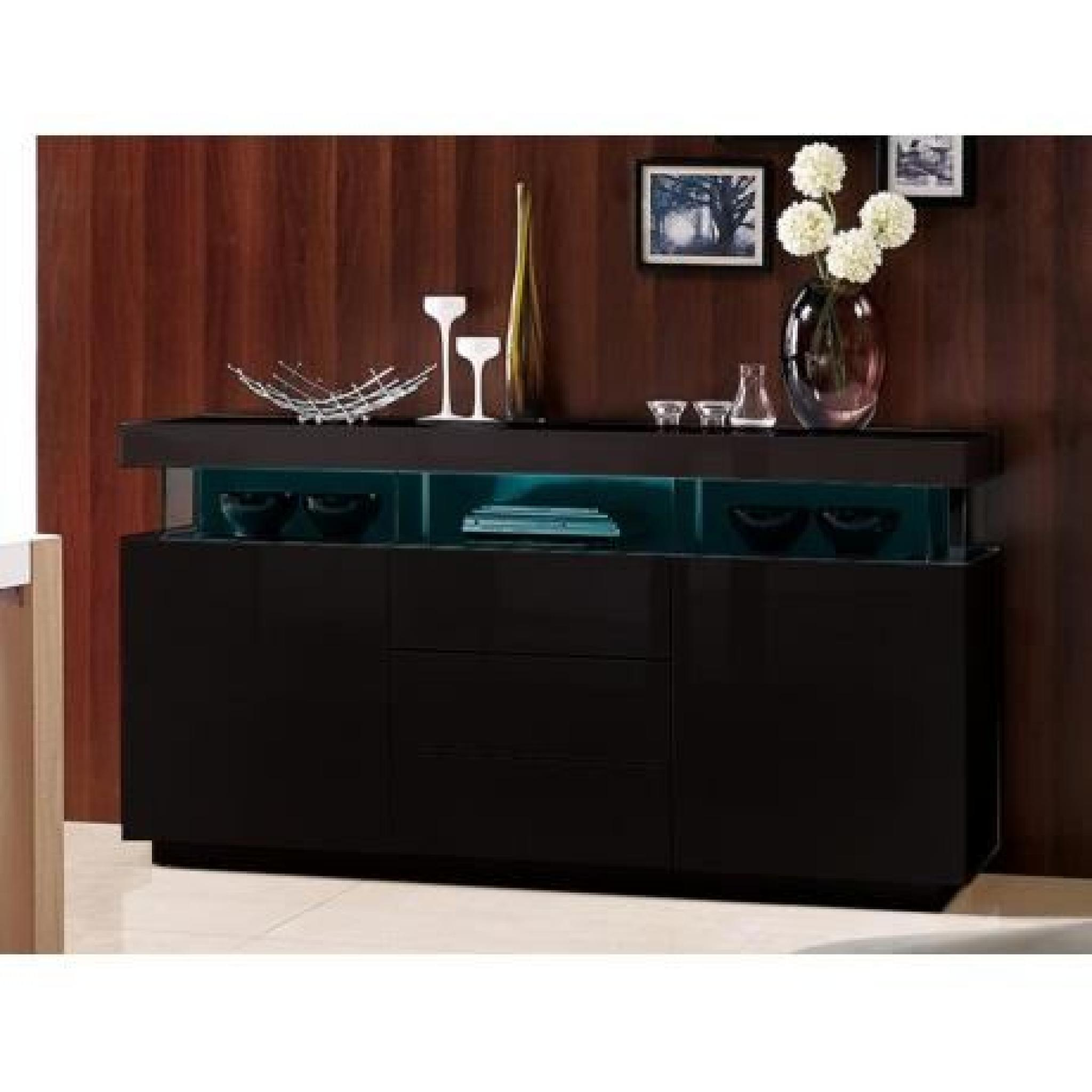 buffet fabio mdf laqu noir leds 3 tiroirs 2 portes achat vente buffet pas cher. Black Bedroom Furniture Sets. Home Design Ideas