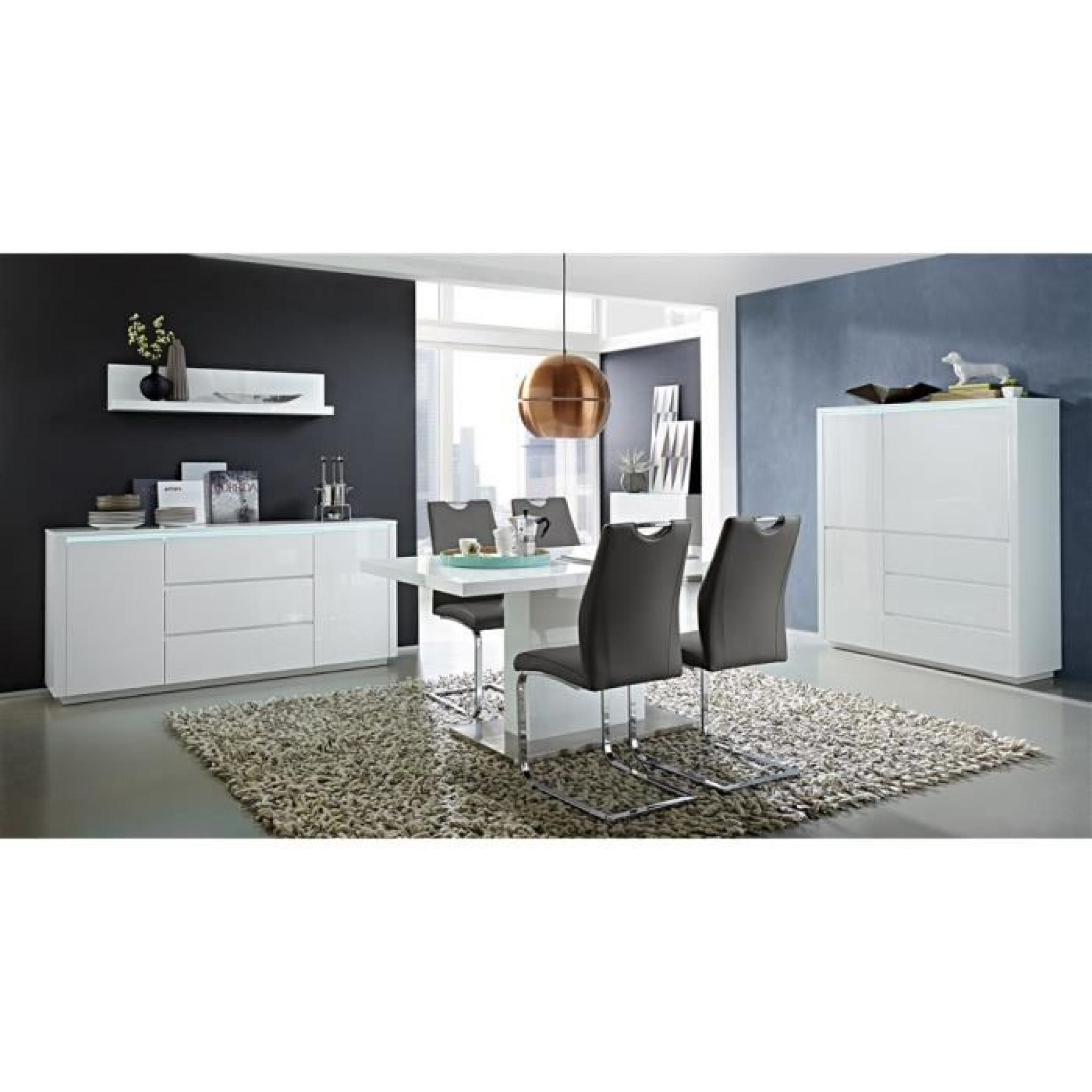 buffet haut eclairage led chicago blanc laqu achat vente buffet pas cher couleur et. Black Bedroom Furniture Sets. Home Design Ideas