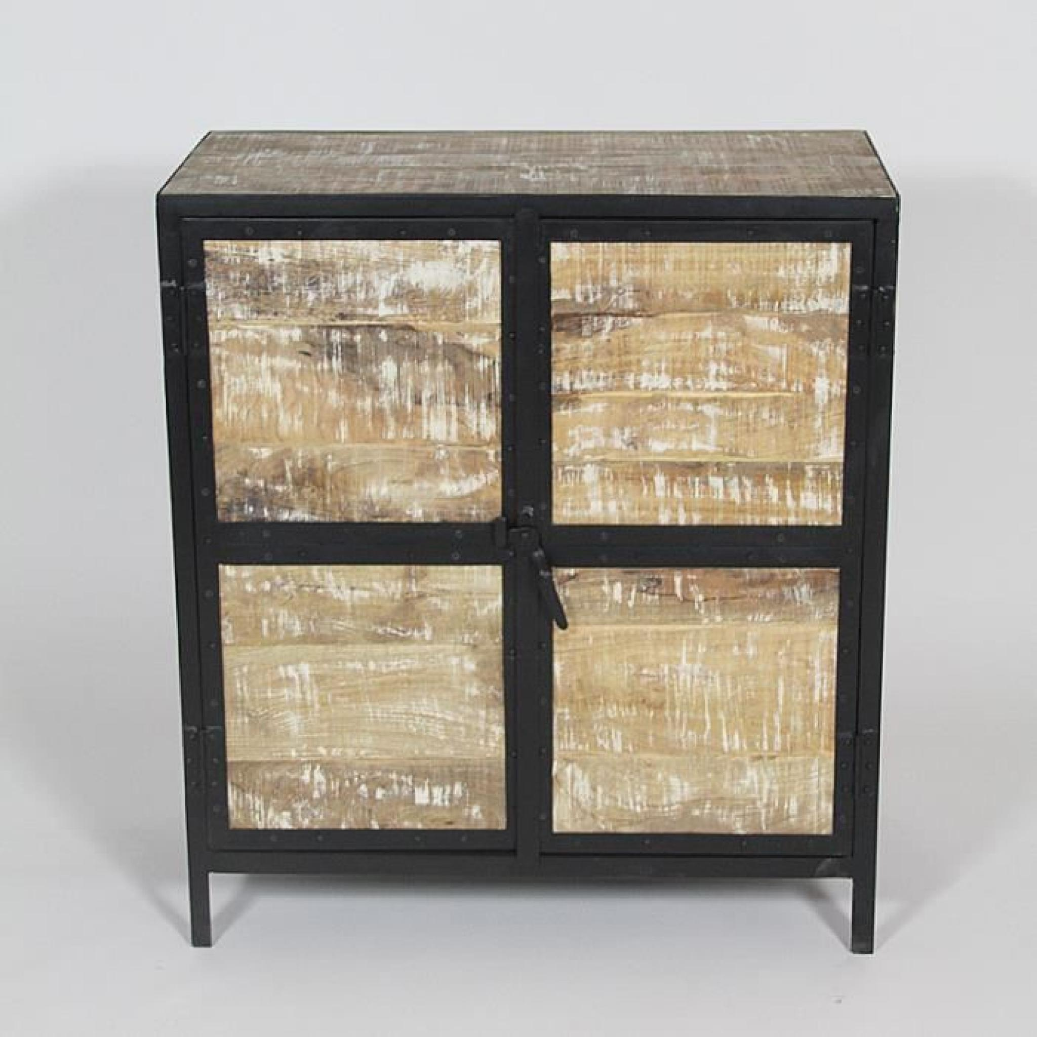 buffet industriel bois et m tal 2 portes bois achat vente buffet pas cher couleur et. Black Bedroom Furniture Sets. Home Design Ideas
