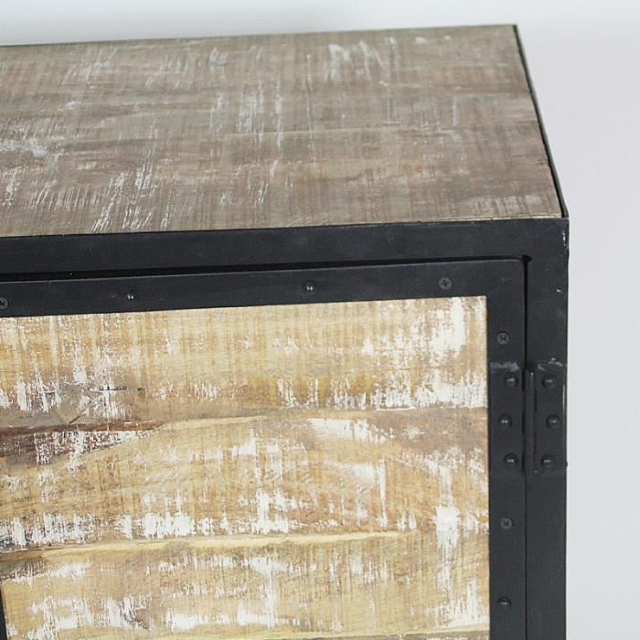 buffet industriel bois et m tal 2 portes bois achat. Black Bedroom Furniture Sets. Home Design Ideas