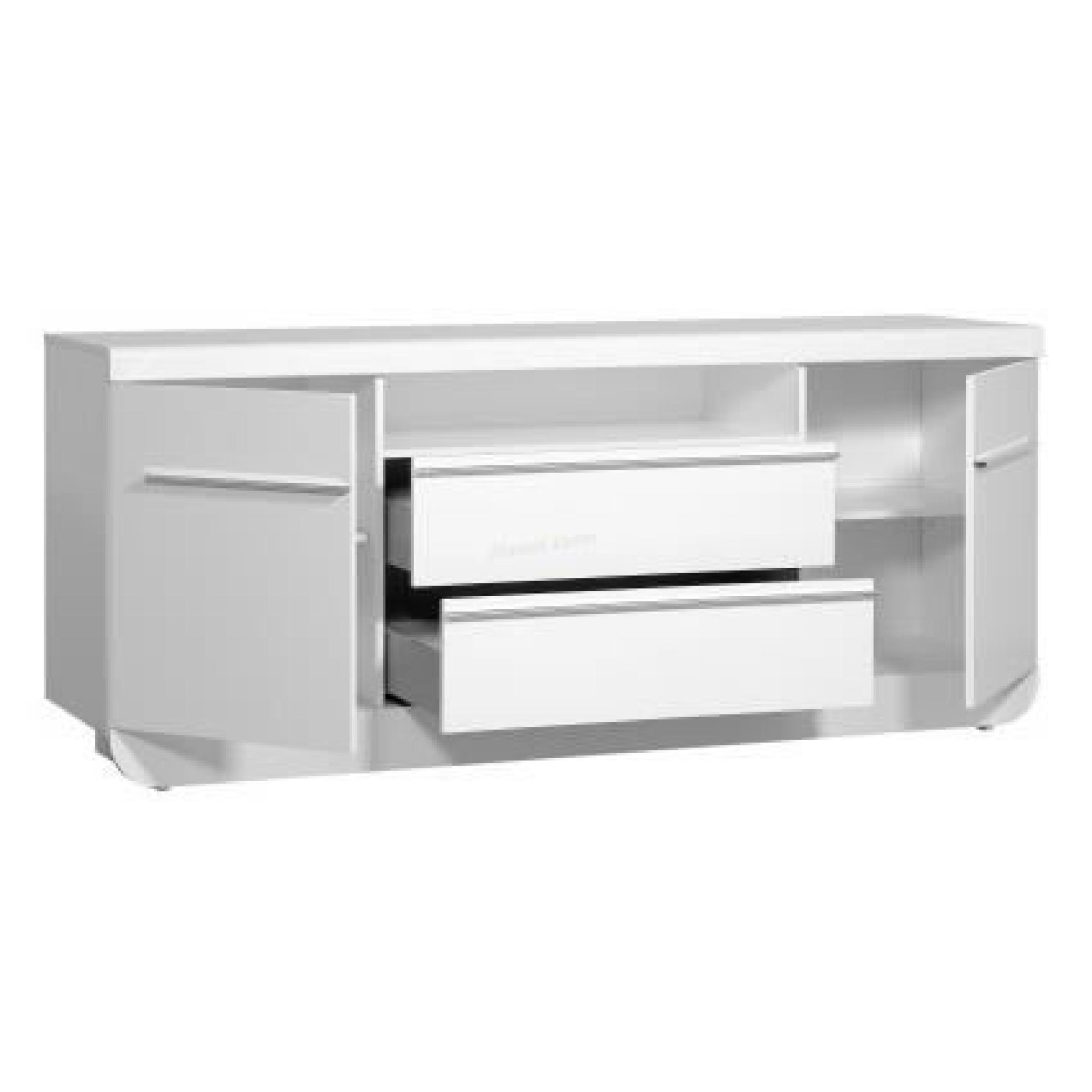 buffet laqu blanc 2 portes 2 tiroirs floyd avec led. Black Bedroom Furniture Sets. Home Design Ideas