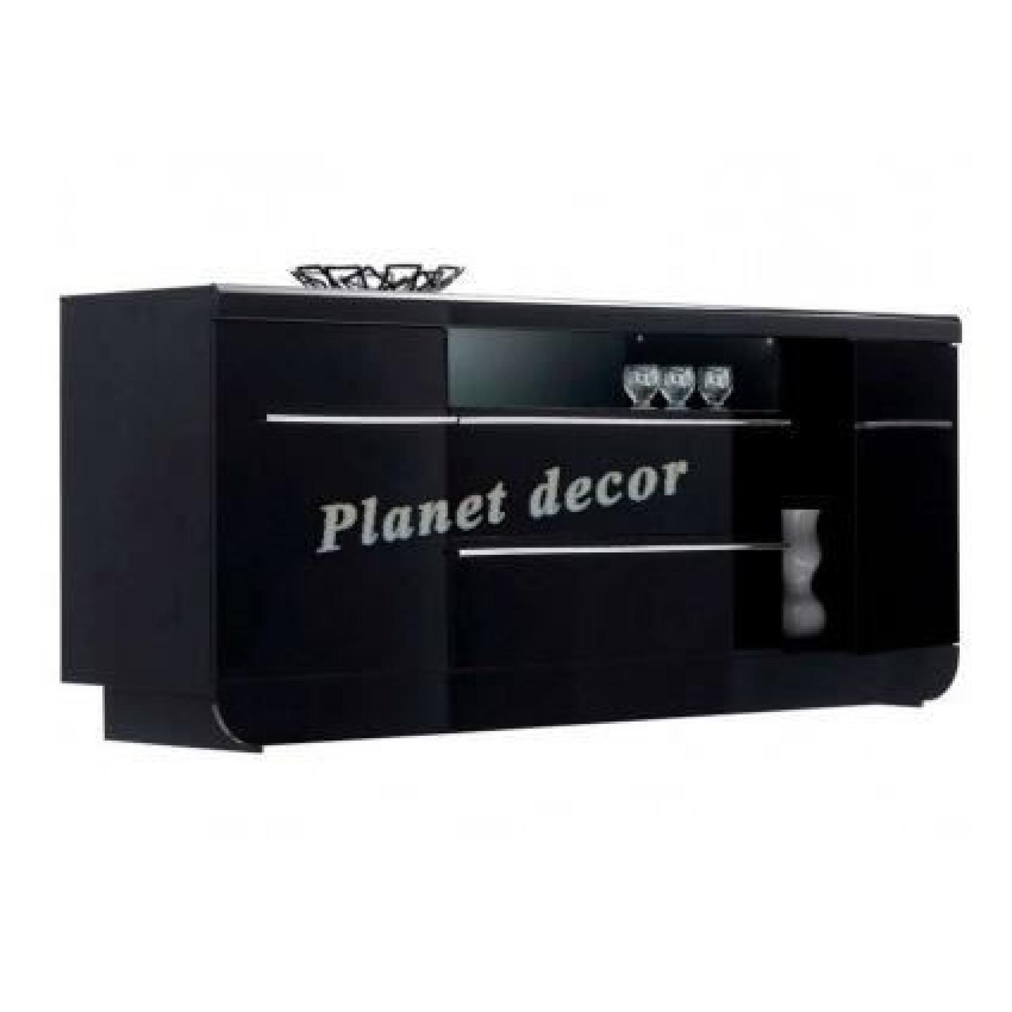 Buffet laqu noir 2 portes 2 tiroirs floyd sans led achat vente buffet pas - Buffet laque pas cher ...