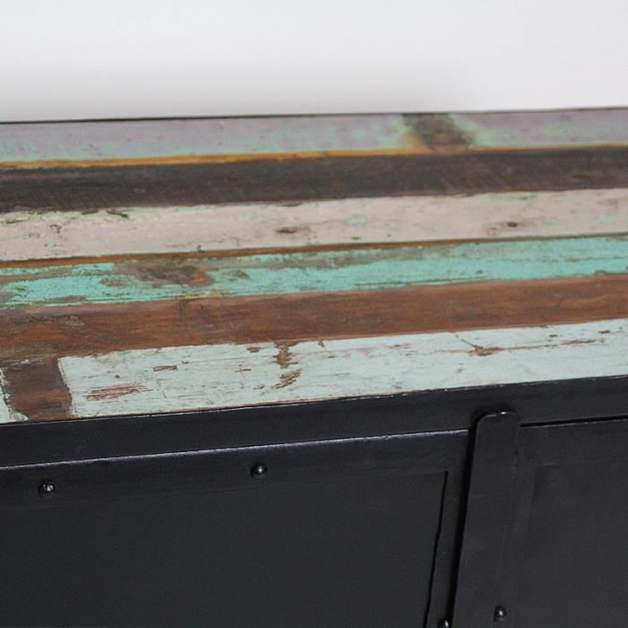 Buffet metal noir 2 portes plateau bois colore Achat Vente