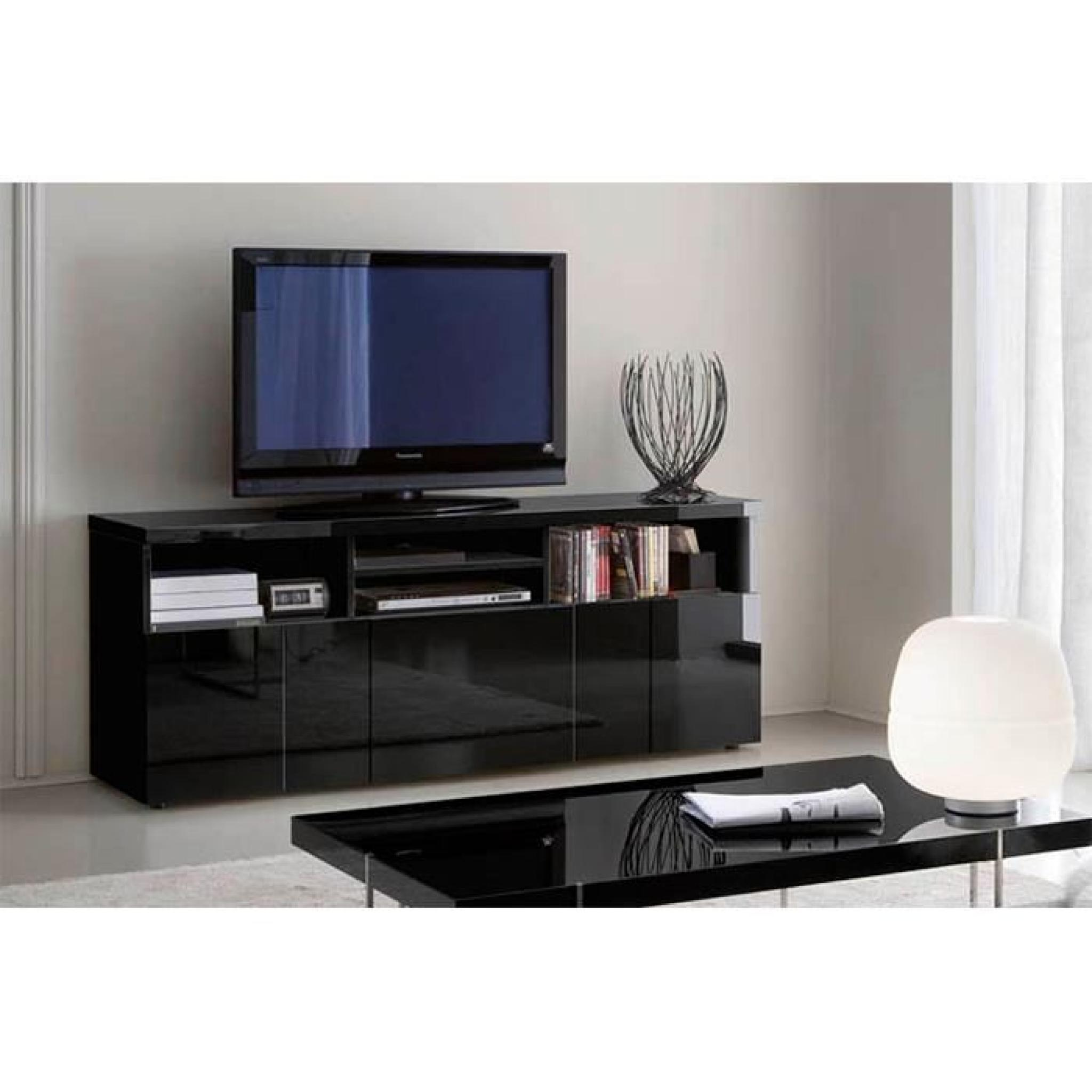 Buffet meuble tv glossy noir 3 portes 4 niches achat for Buffet noir