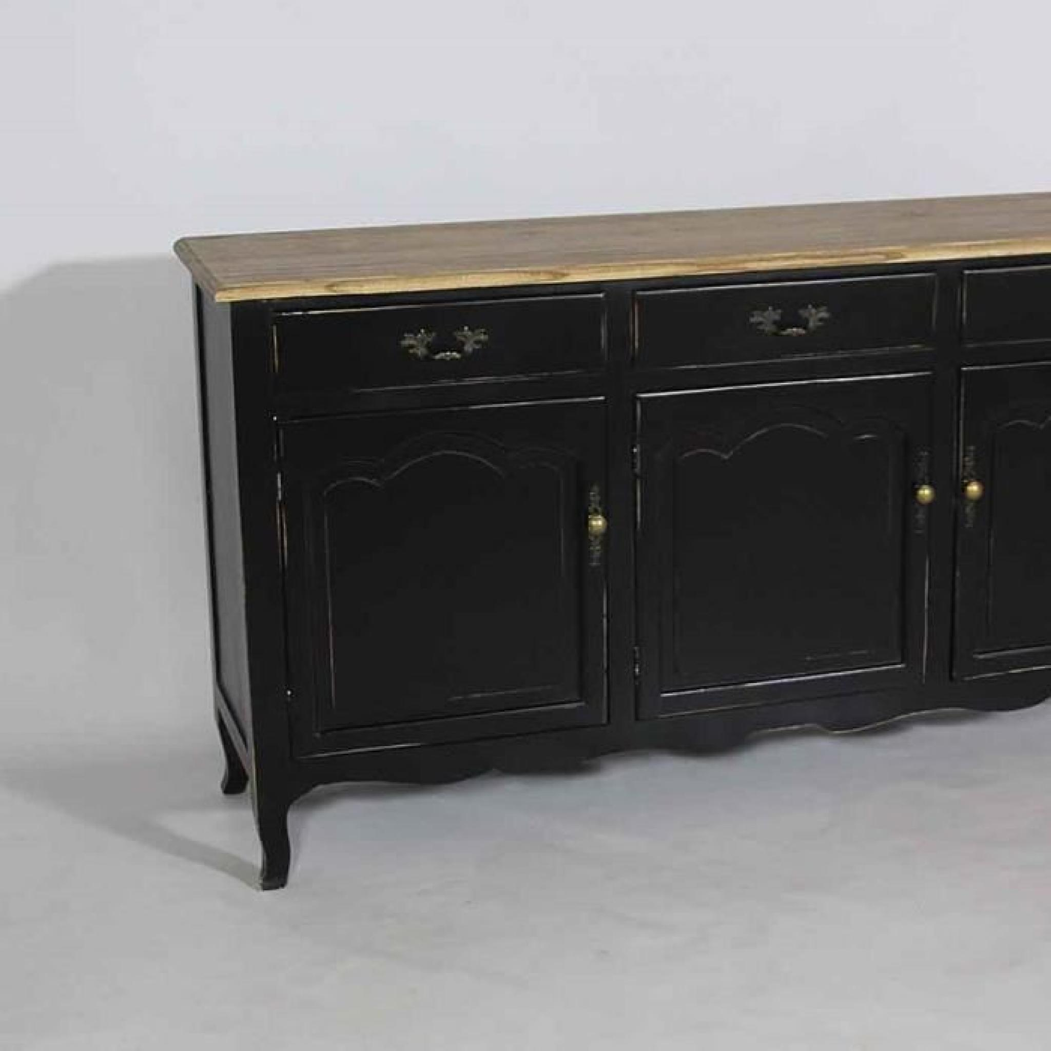 buffet r gence 3 portes baroque noir achat vente. Black Bedroom Furniture Sets. Home Design Ideas