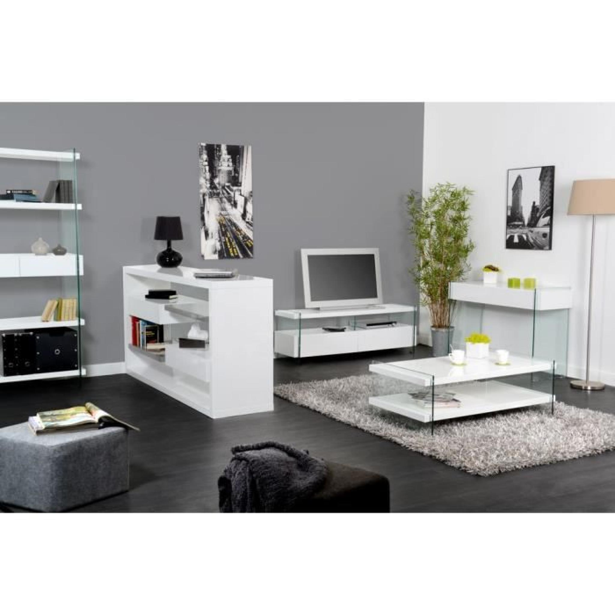 buffet spike blanc laqu verre achat vente buffet pas. Black Bedroom Furniture Sets. Home Design Ideas