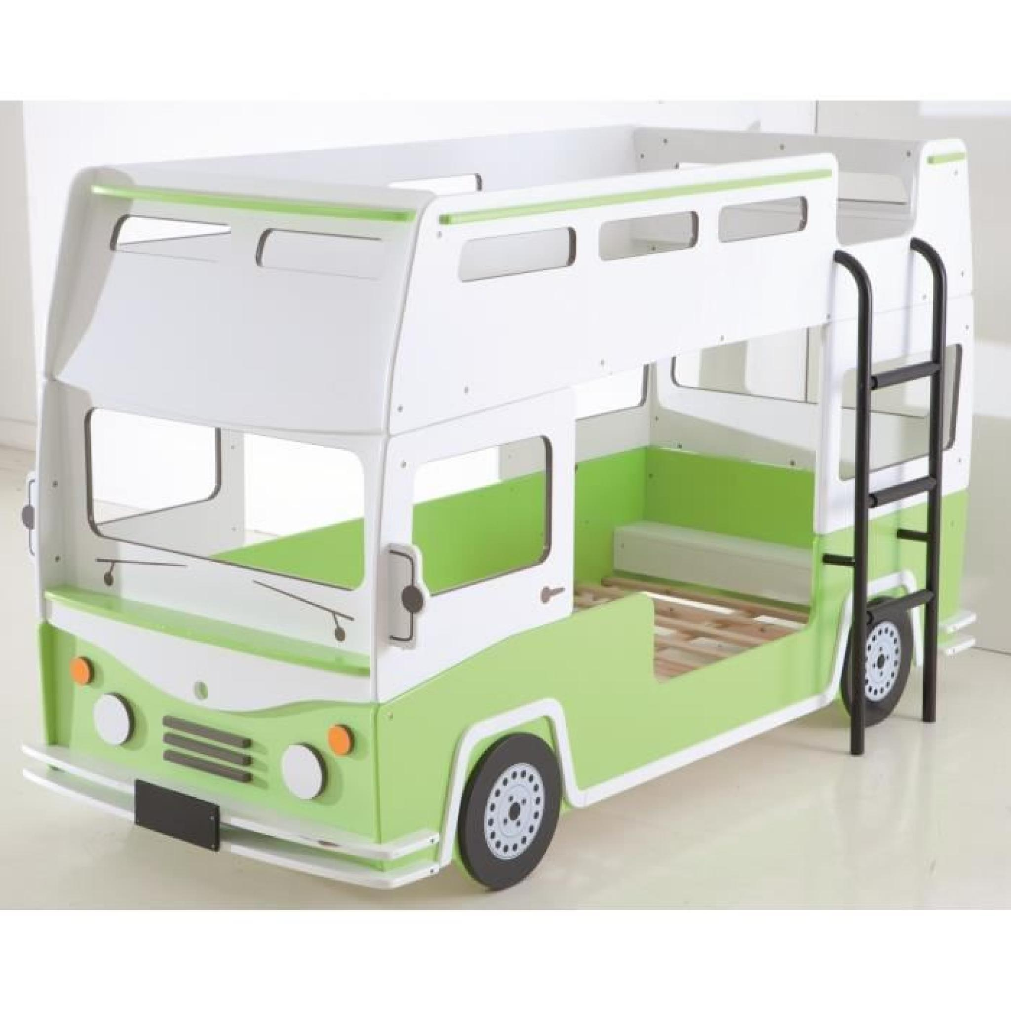 bussy lits superpos s enfant 90x190 200 vert blanc achat vente lit superpose pas cher. Black Bedroom Furniture Sets. Home Design Ideas