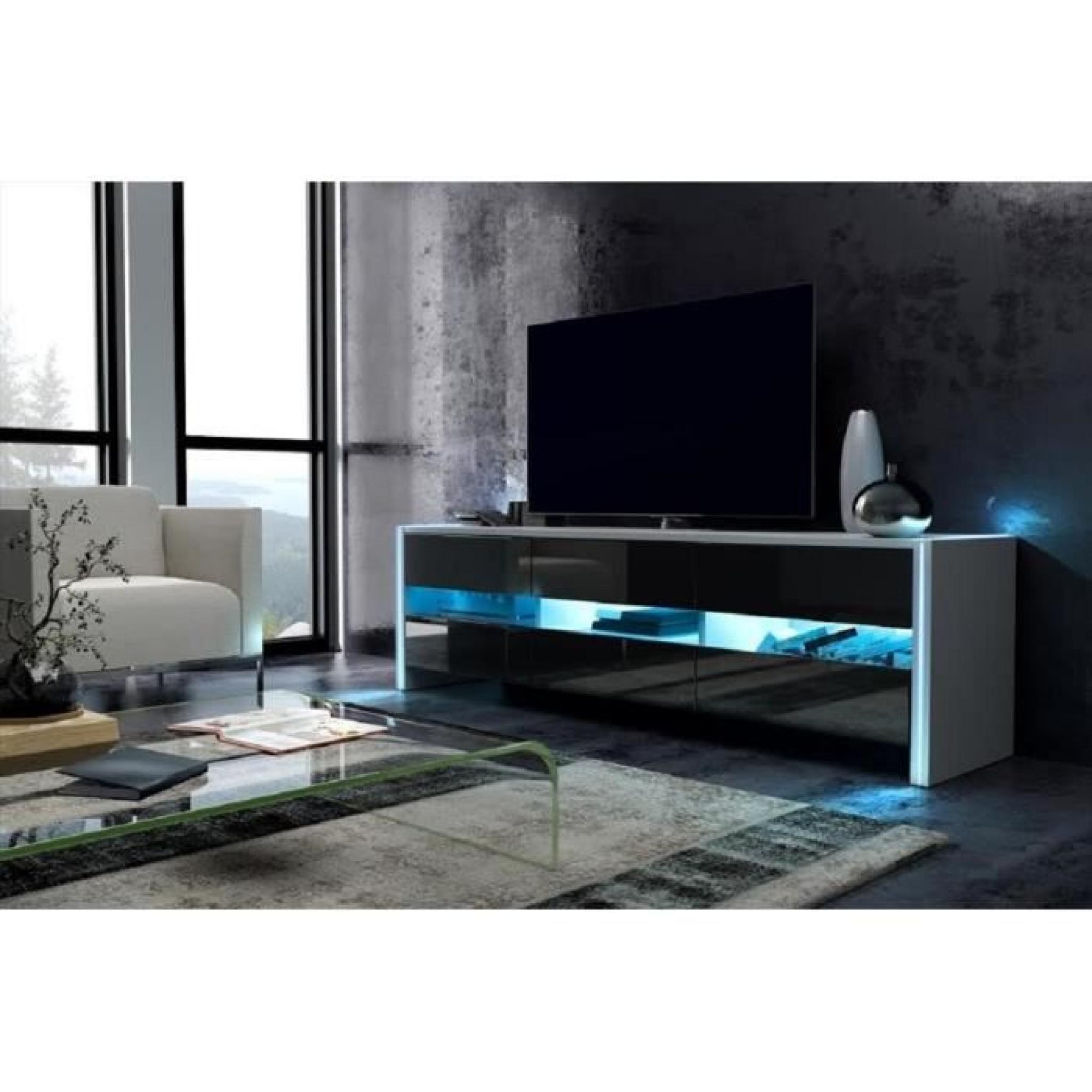 Cabinet Rtv Roche Blanc Mat Noir Brillant Avec Led Achat Vente  # Meuble Tv Noir Avec Led