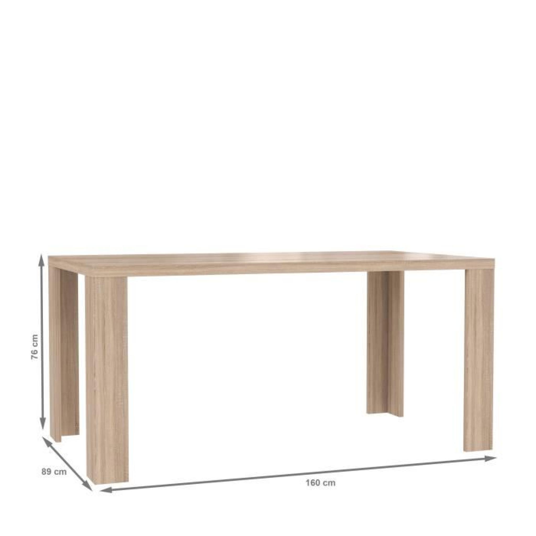 cm clair Table chêne 76 sonoma x décor CALPE 160 sChxQrdt