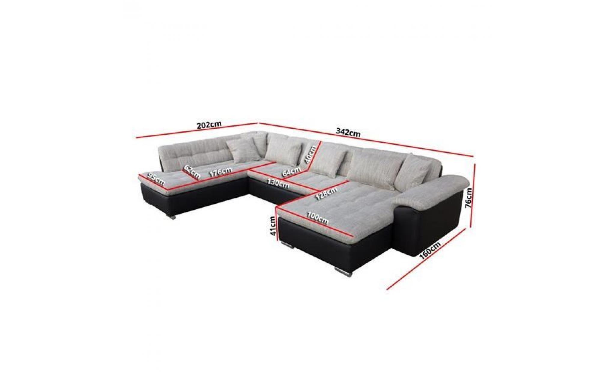 canap angle u alta 1 noir angle droit achat vente lit. Black Bedroom Furniture Sets. Home Design Ideas