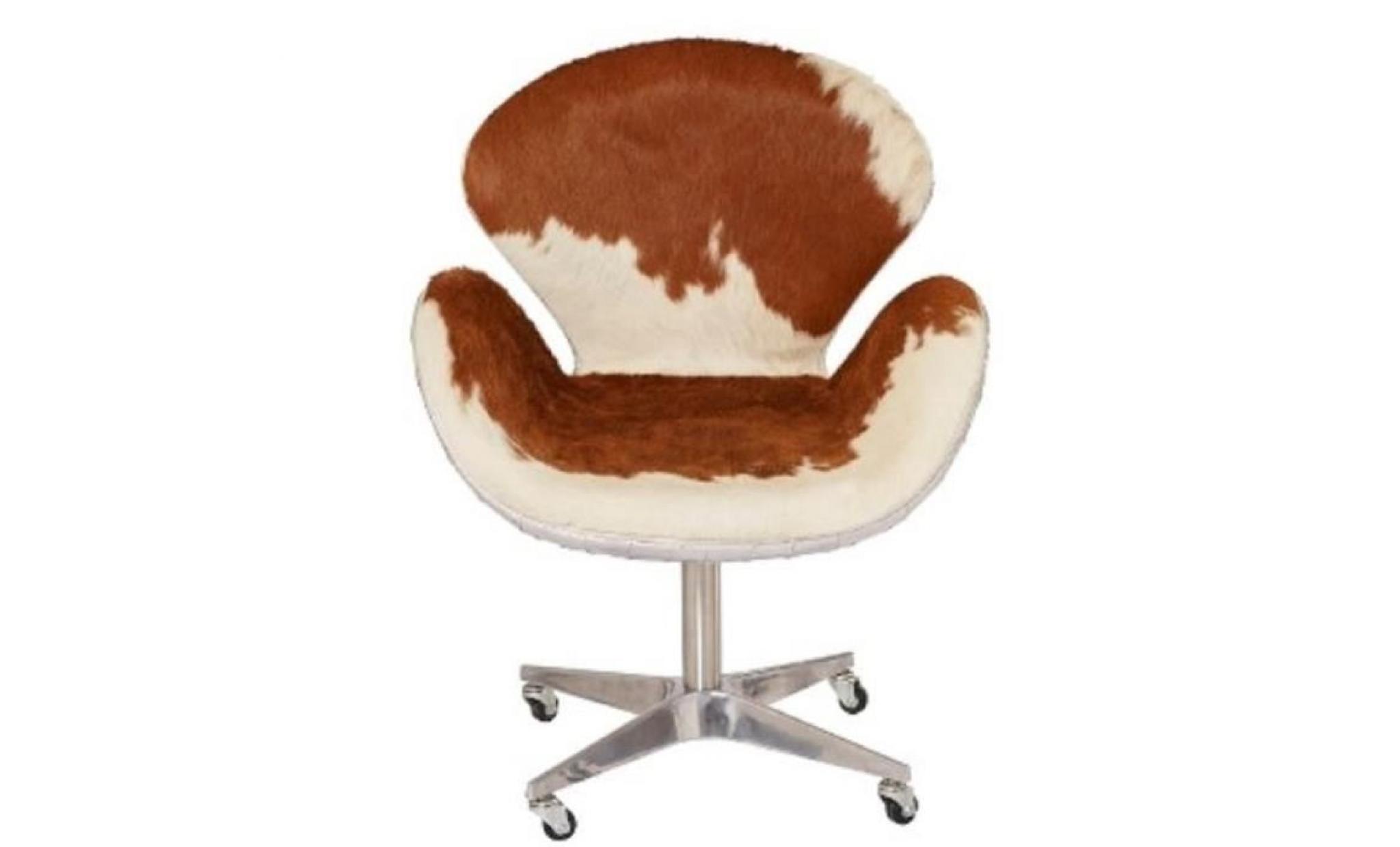 Casa Padrino Chaise De Bureau Design Marron Blanc Argent 72 X 63 X H 91 Cm Mobilier De Bureau De Luxe