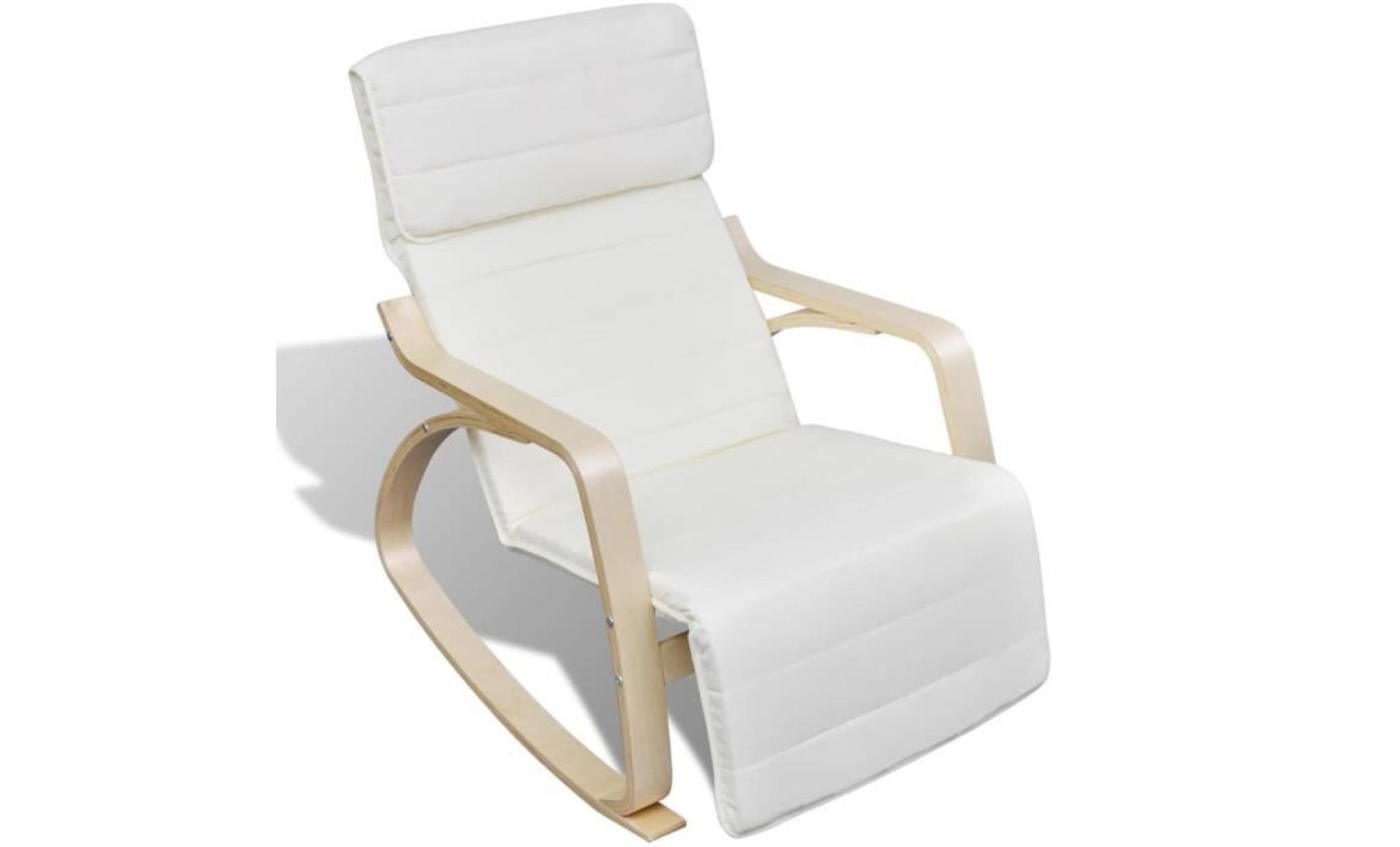 chaise à bascule avec cadre en bois cintré tissu réglable crème