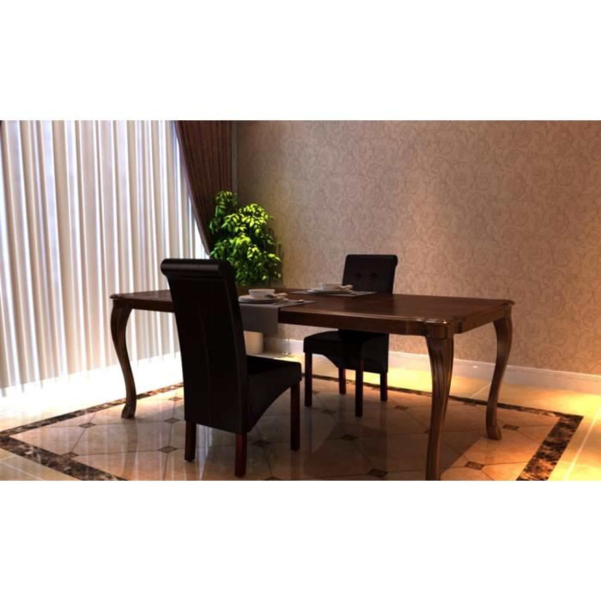 chaise antique marron lot de 2 achat vente chaise salle a manger pas cher couleur et. Black Bedroom Furniture Sets. Home Design Ideas