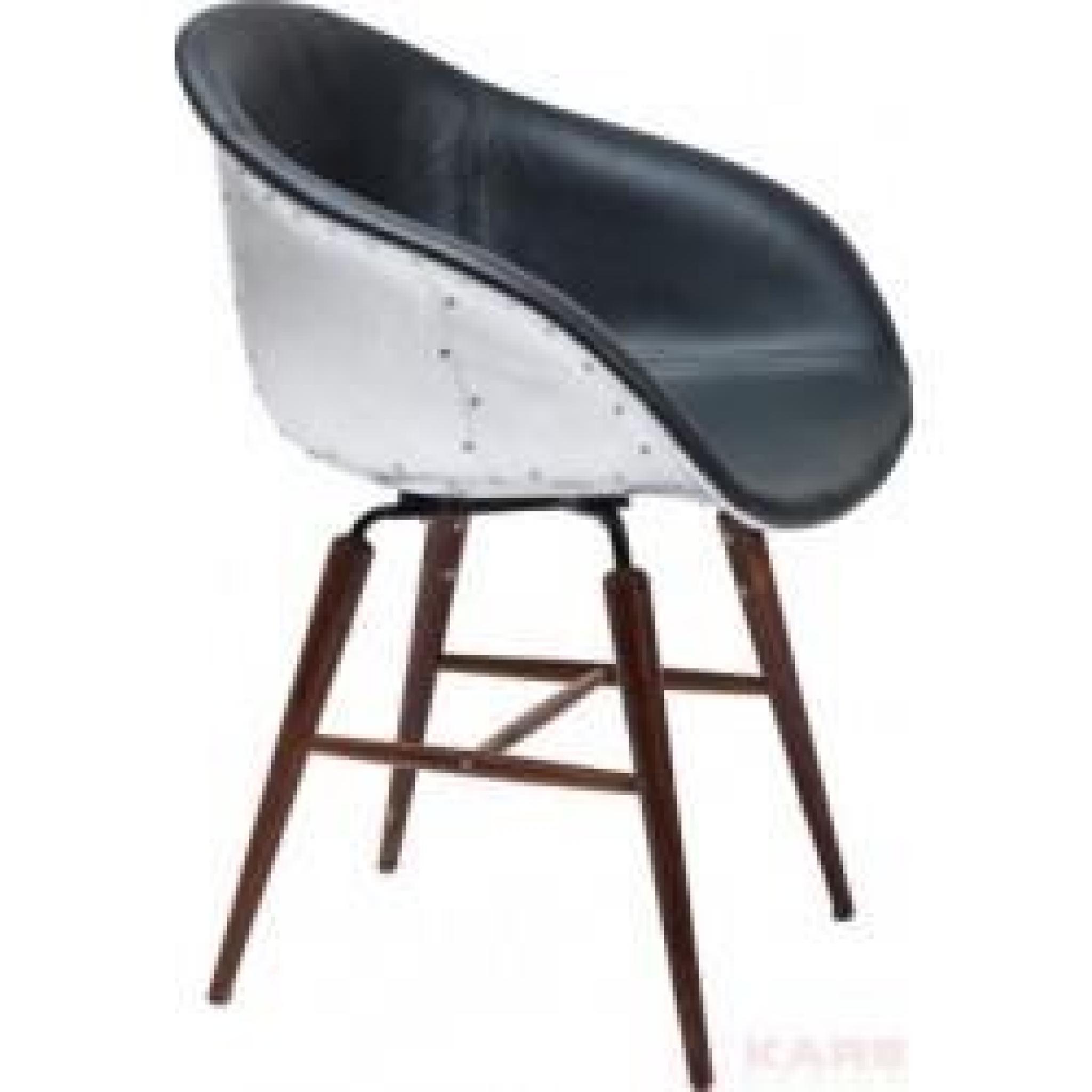 Chaise Bauhaus Industriel Noir Alu Pied En Bois