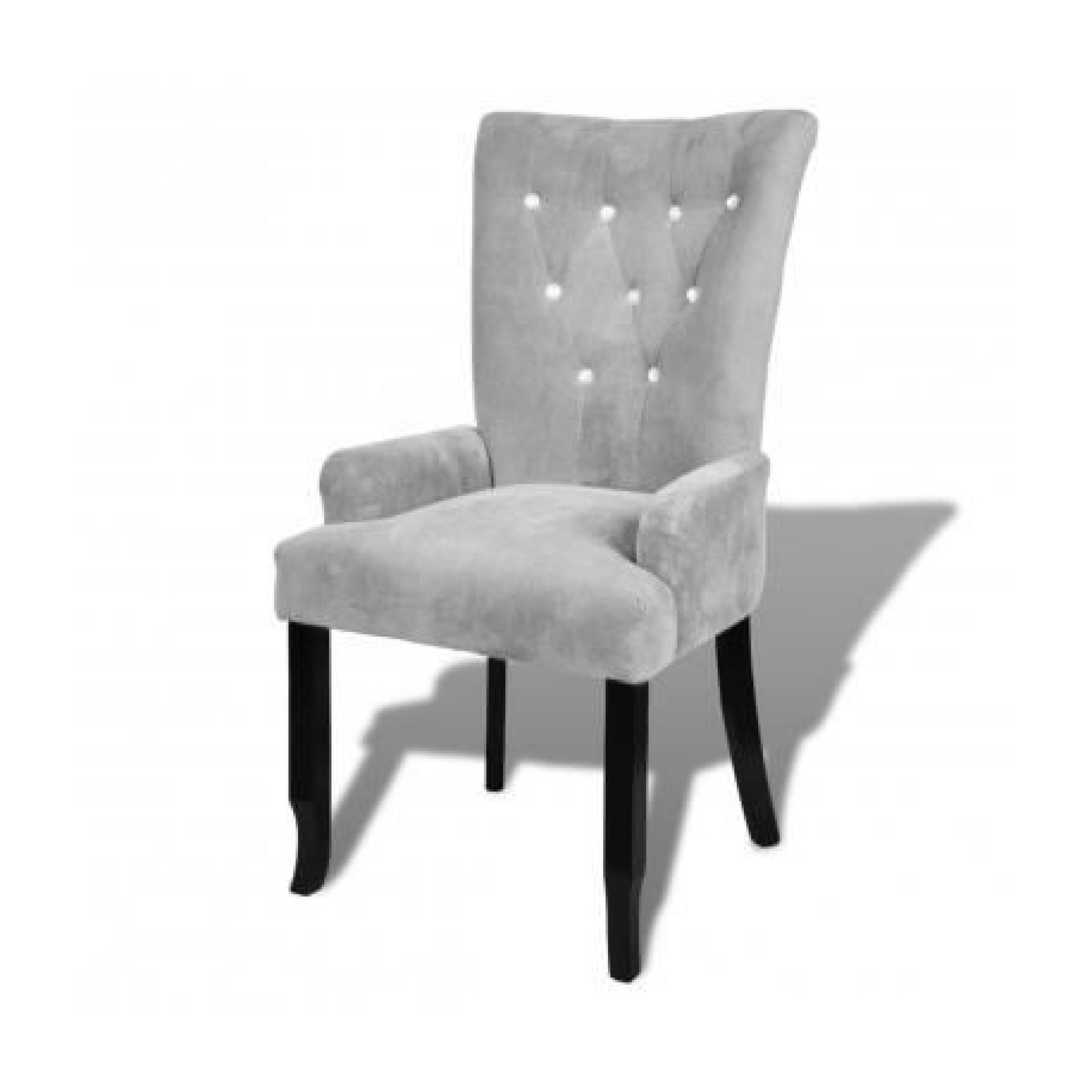 chaise capitonn e argent 54 x 56 x 106 cm achat vente. Black Bedroom Furniture Sets. Home Design Ideas