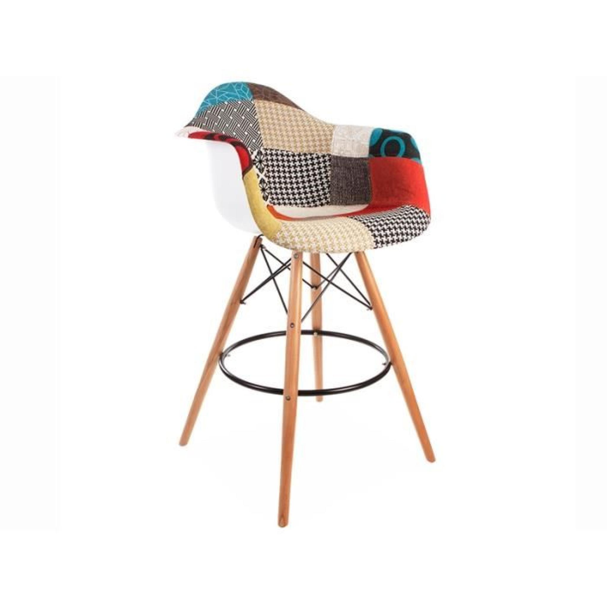 Chaise de bar dab patchwork achat vente tabouret de for Achat chaise de bar