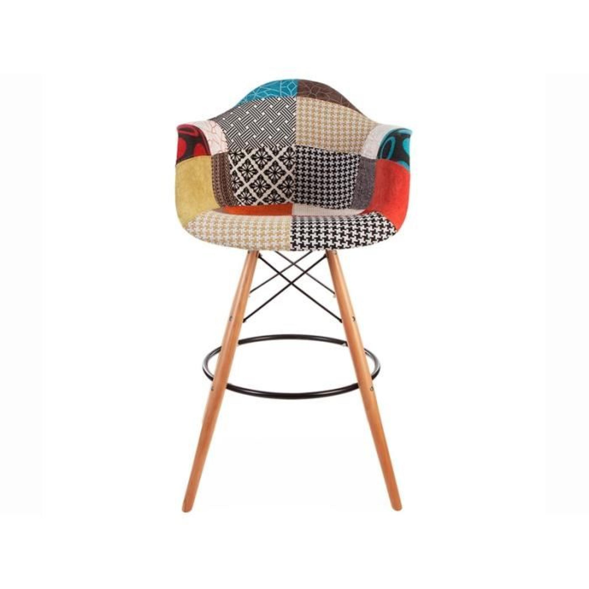 Chaise de bar dab patchwork achat vente tabouret de for Chaise et tabouret