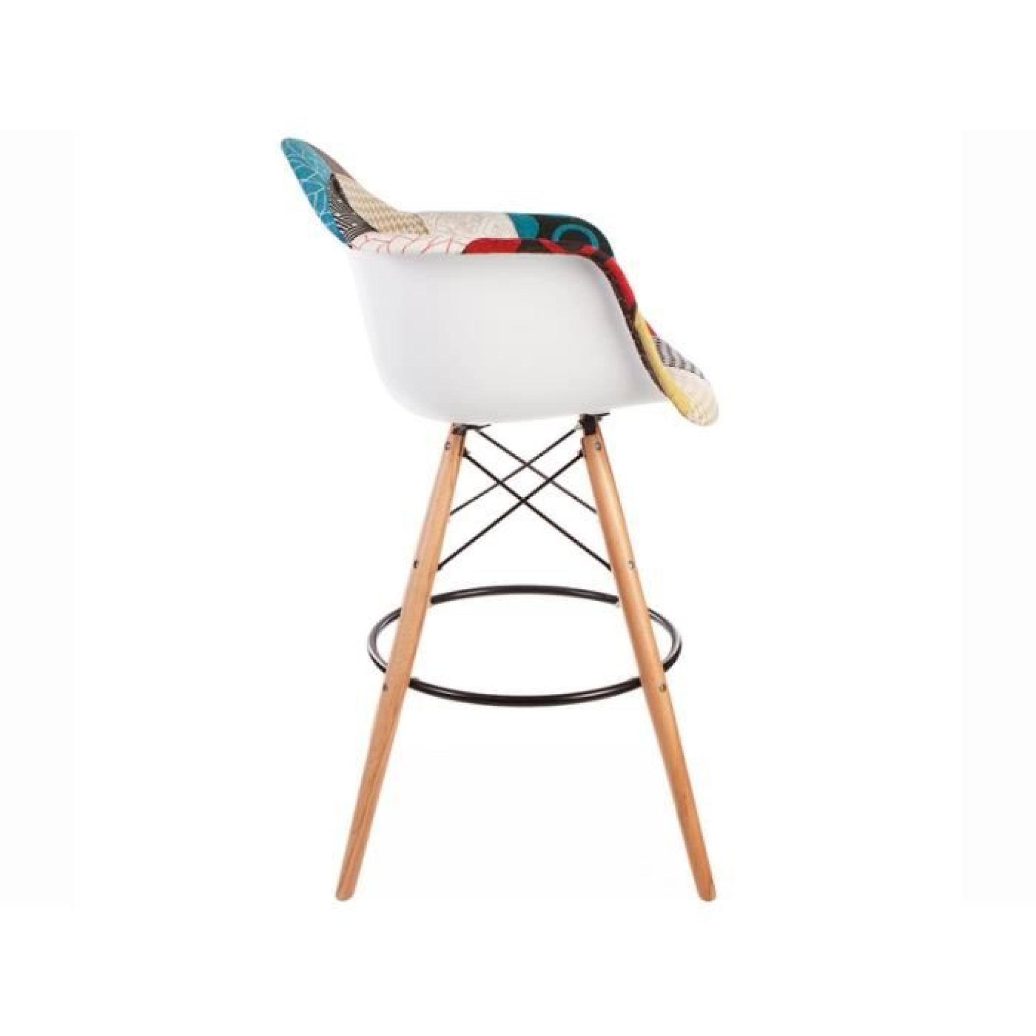 Chaise de bar dab patchwork achat vente tabouret de for Chaise en couleur pas cher