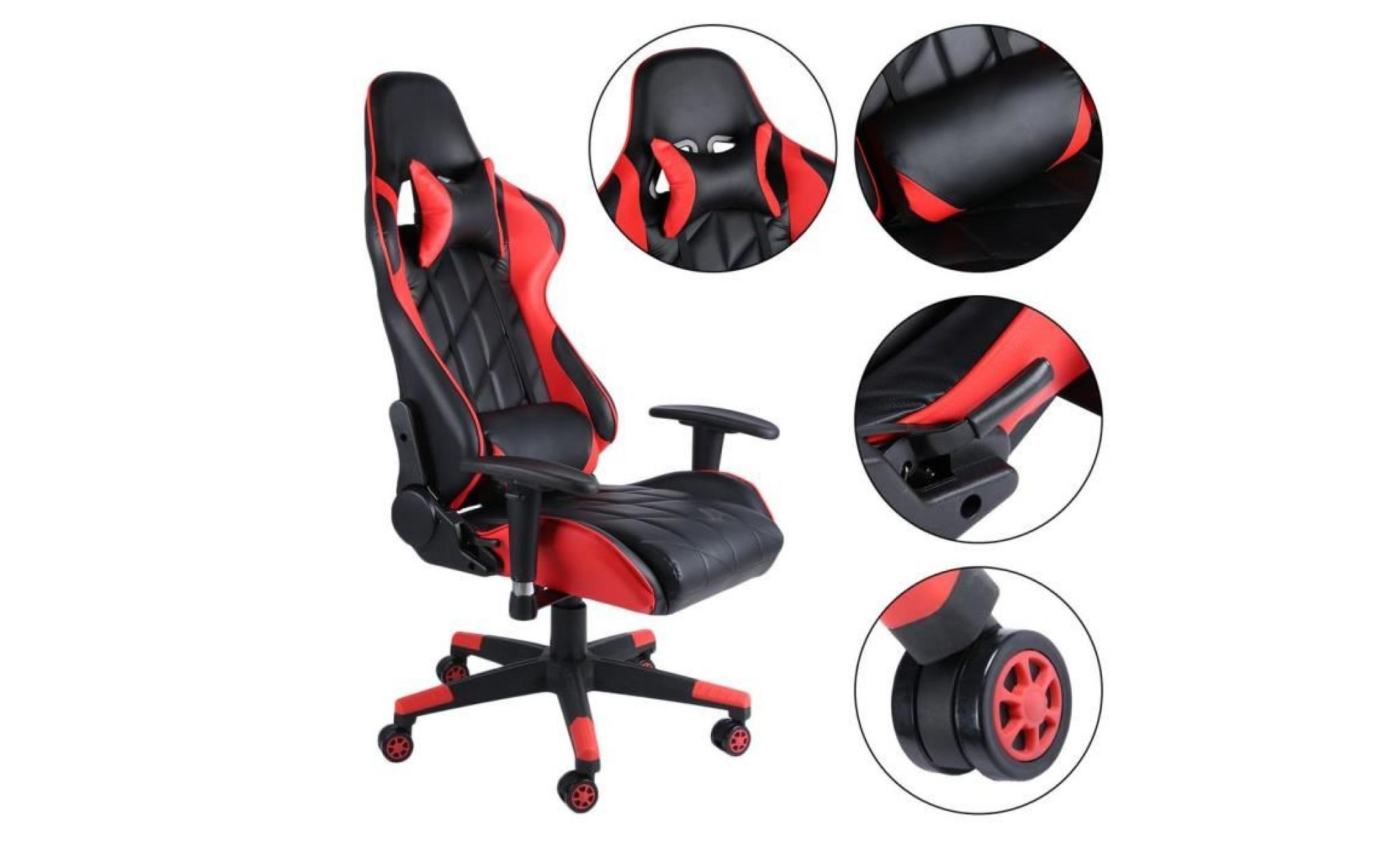 Chaise De Bureau Gaming Design Baquet Style Contemporain Rouge