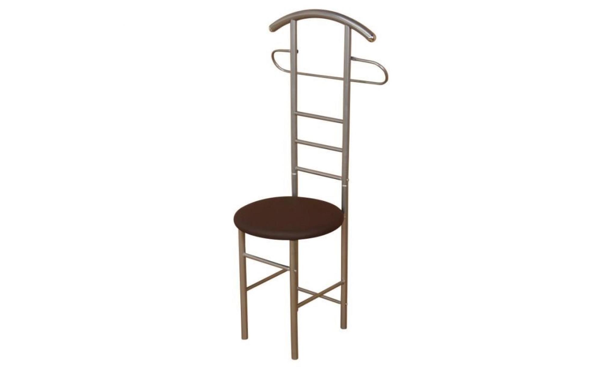 chaise de chambre valet de nuit portant en acier beige et similicuir marron med05103