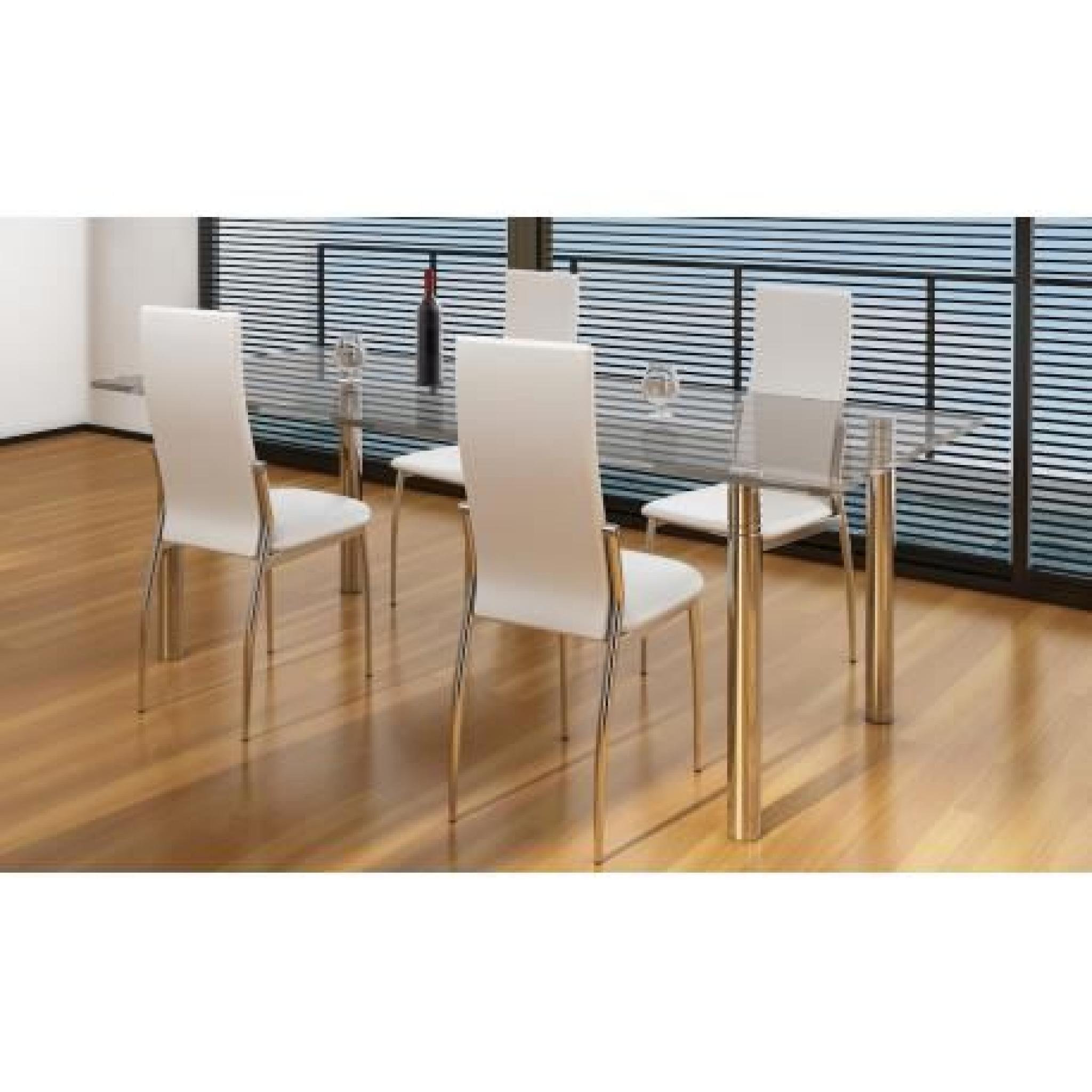 chaise de salle manger alu lot de 4 achat vente chaise salle a manger pas cher couleur. Black Bedroom Furniture Sets. Home Design Ideas