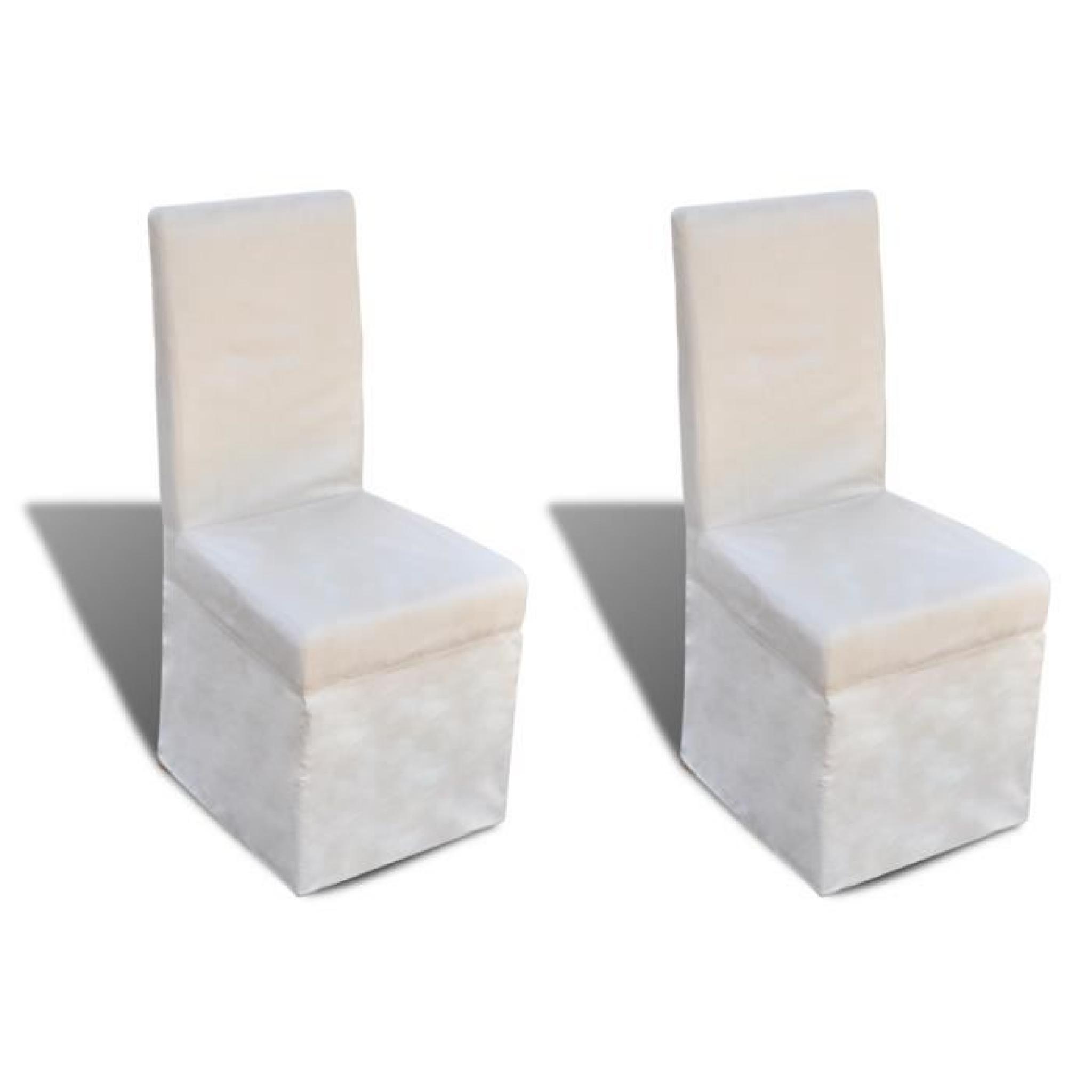 Chaise De Salle A Manger Blanc Creme 2 Pcs