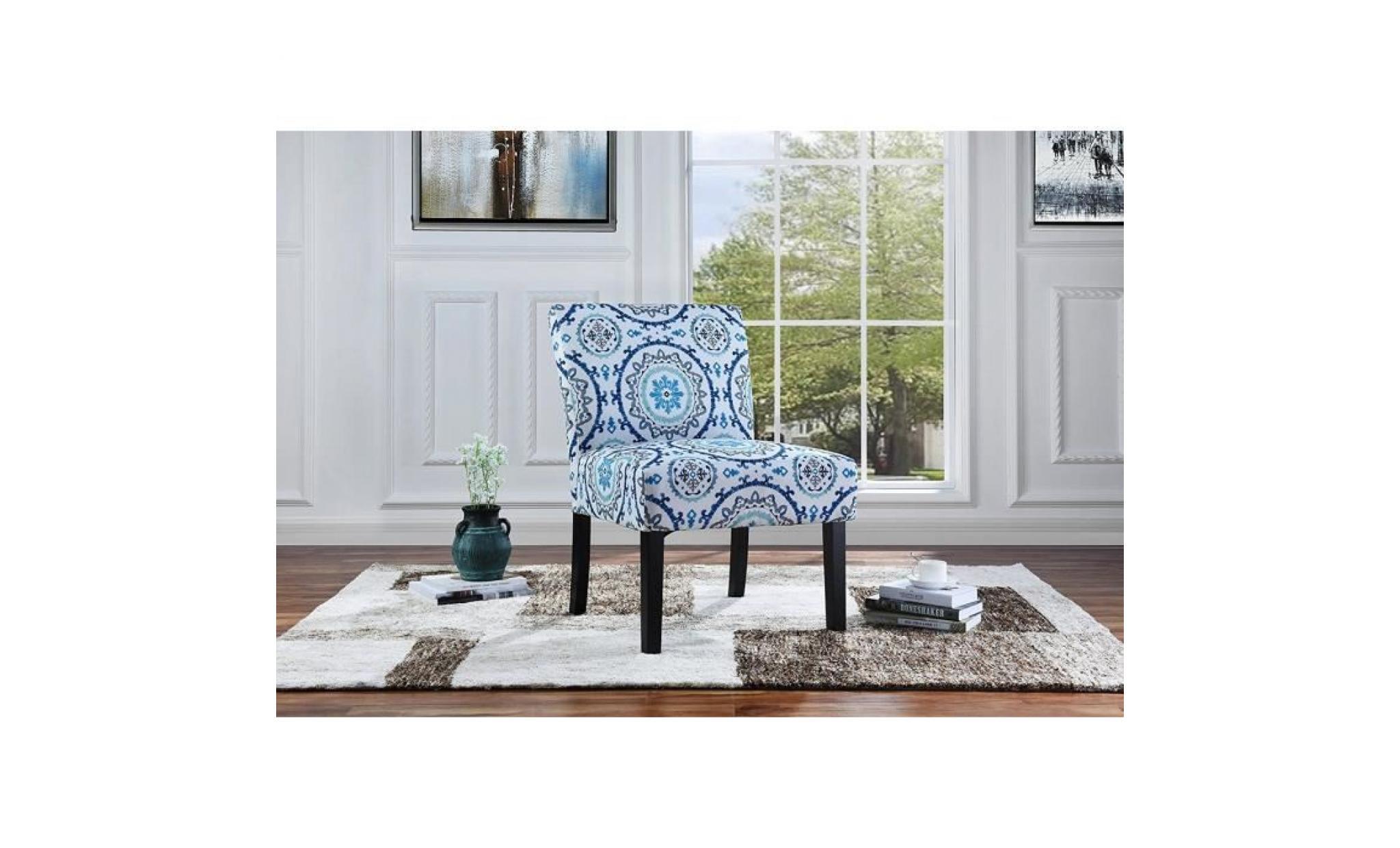 chaise de salon style moderne élégant tissu en lin doux 86x56x46 cm motifs  géométriques
