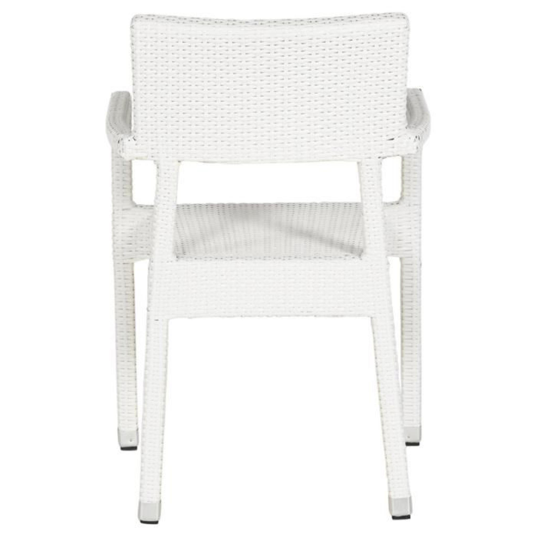 Chaise de terrasse 39 karaoke 39 blanche en osier t achat Chaise de terrasse pas cher