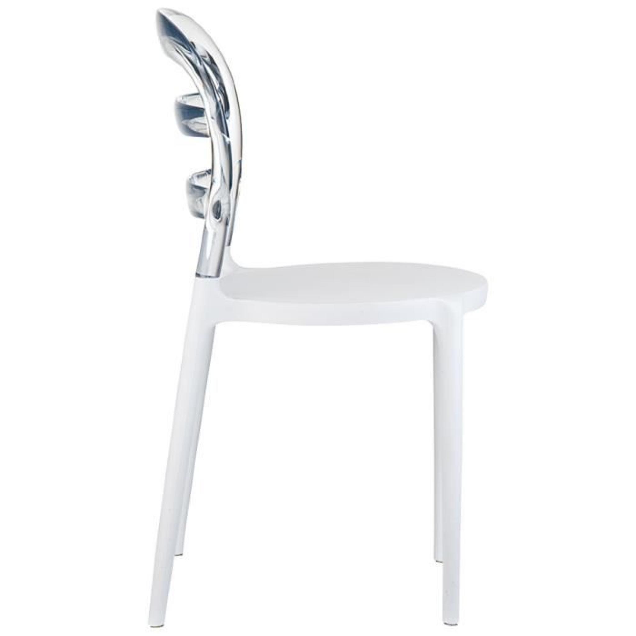 Chaise Design BARO Blanche Et Transparente En Pas Cher