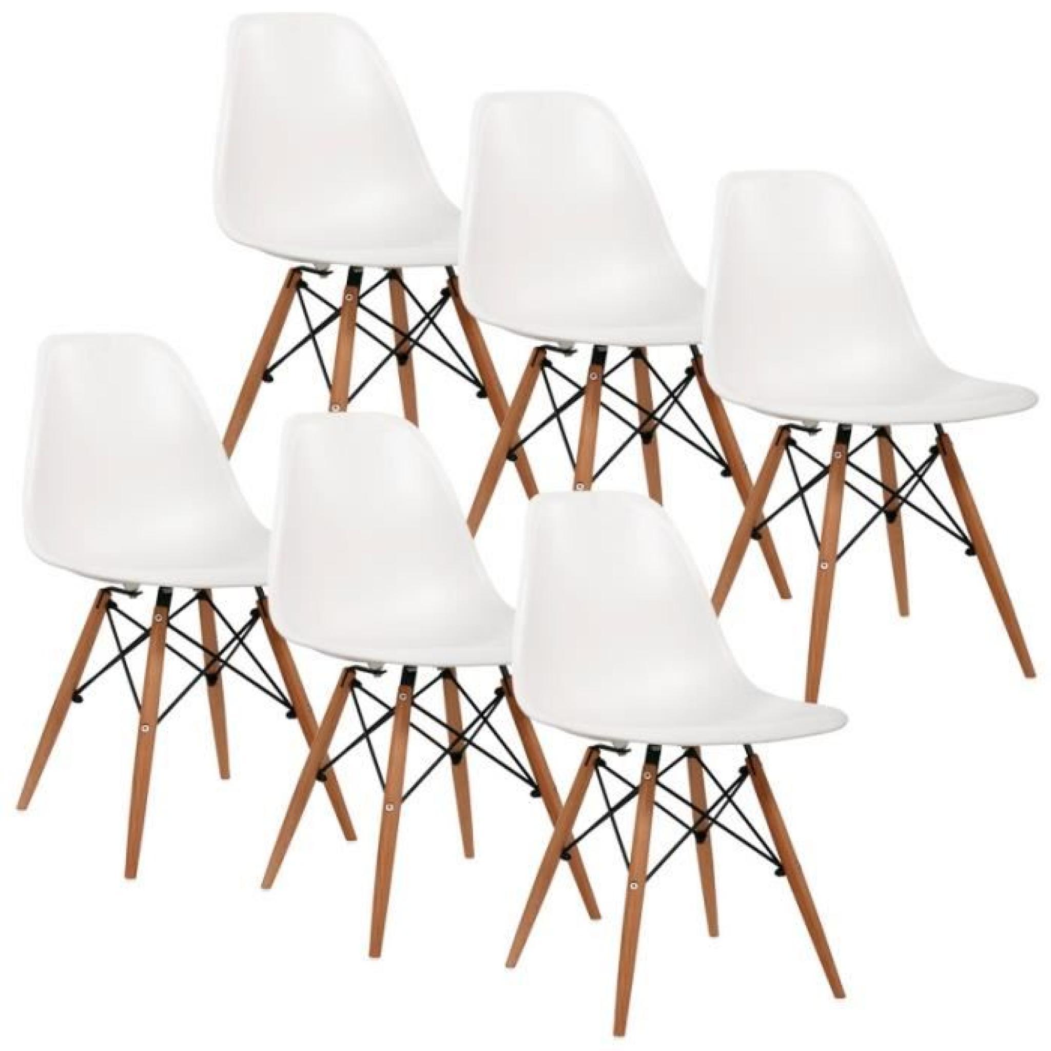Chaise Design Blanche Pieds En Bois RETRO Lot De 6