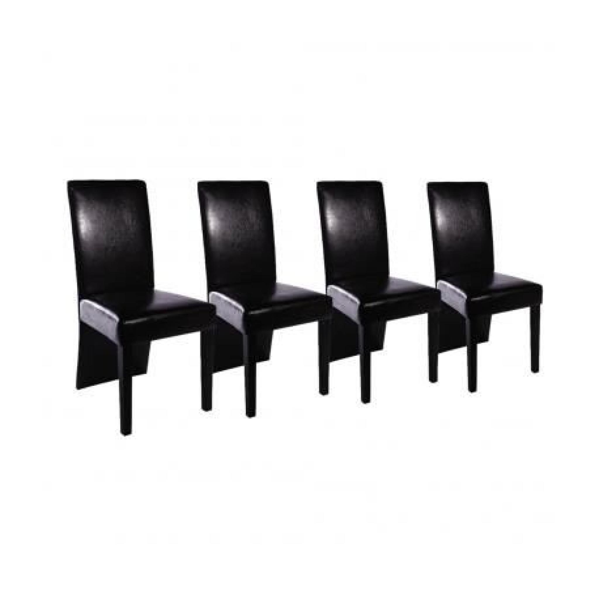 Chaise Design Bois Noir Lot De 4 Pu
