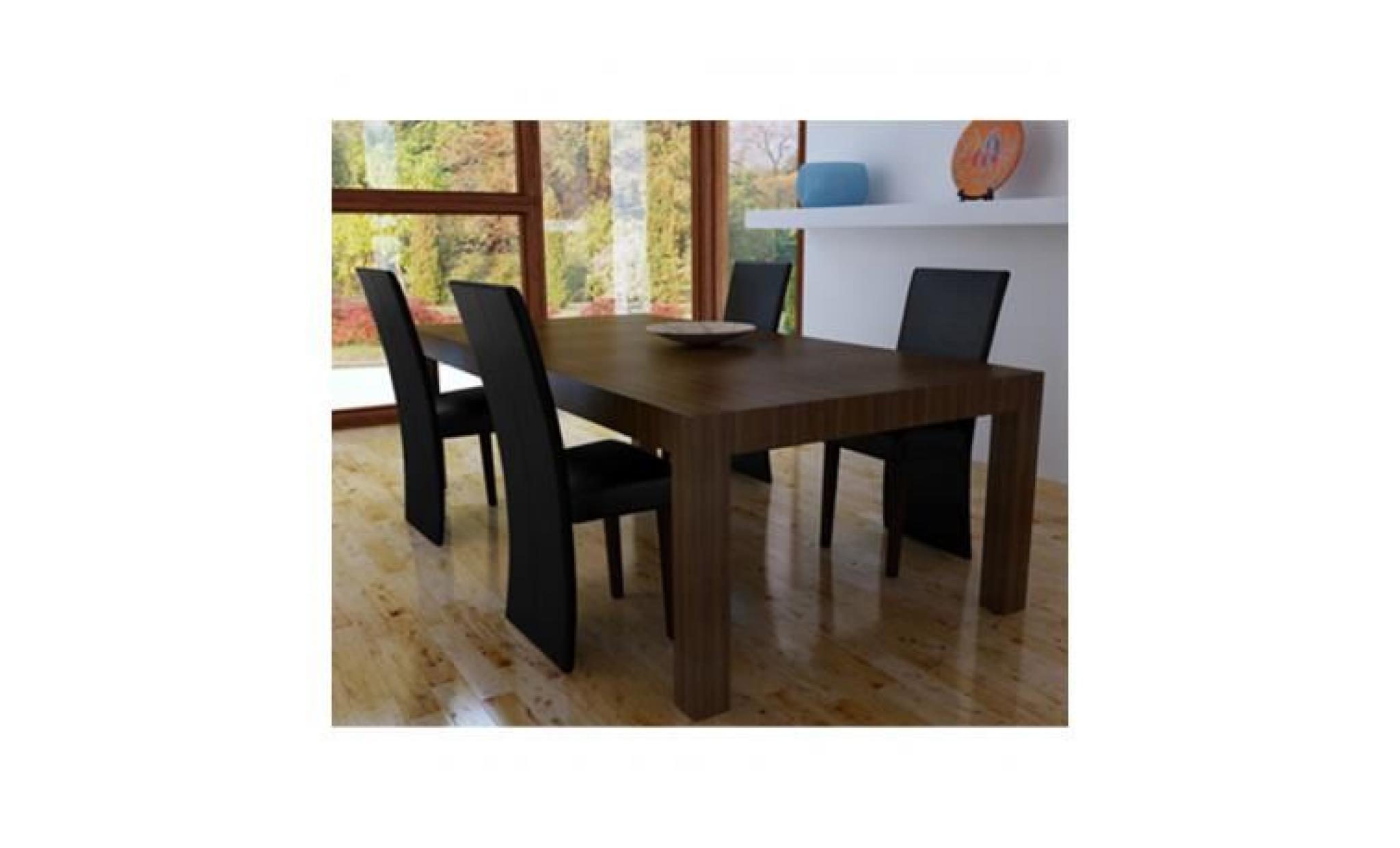 Chaise design bois noir (lot de 4)PU Stylashop