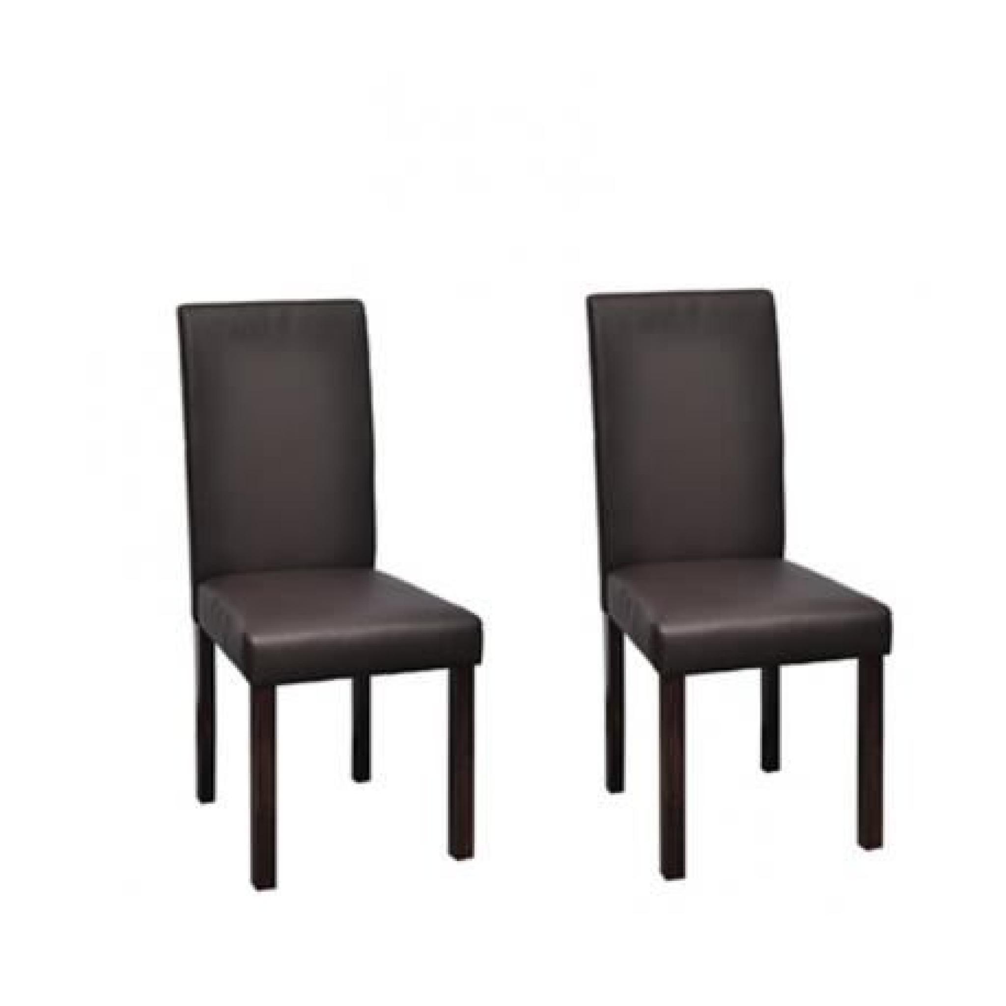 chaise design classique marron lot de 2 achat vente chaise salle a manger pas cher couleur. Black Bedroom Furniture Sets. Home Design Ideas