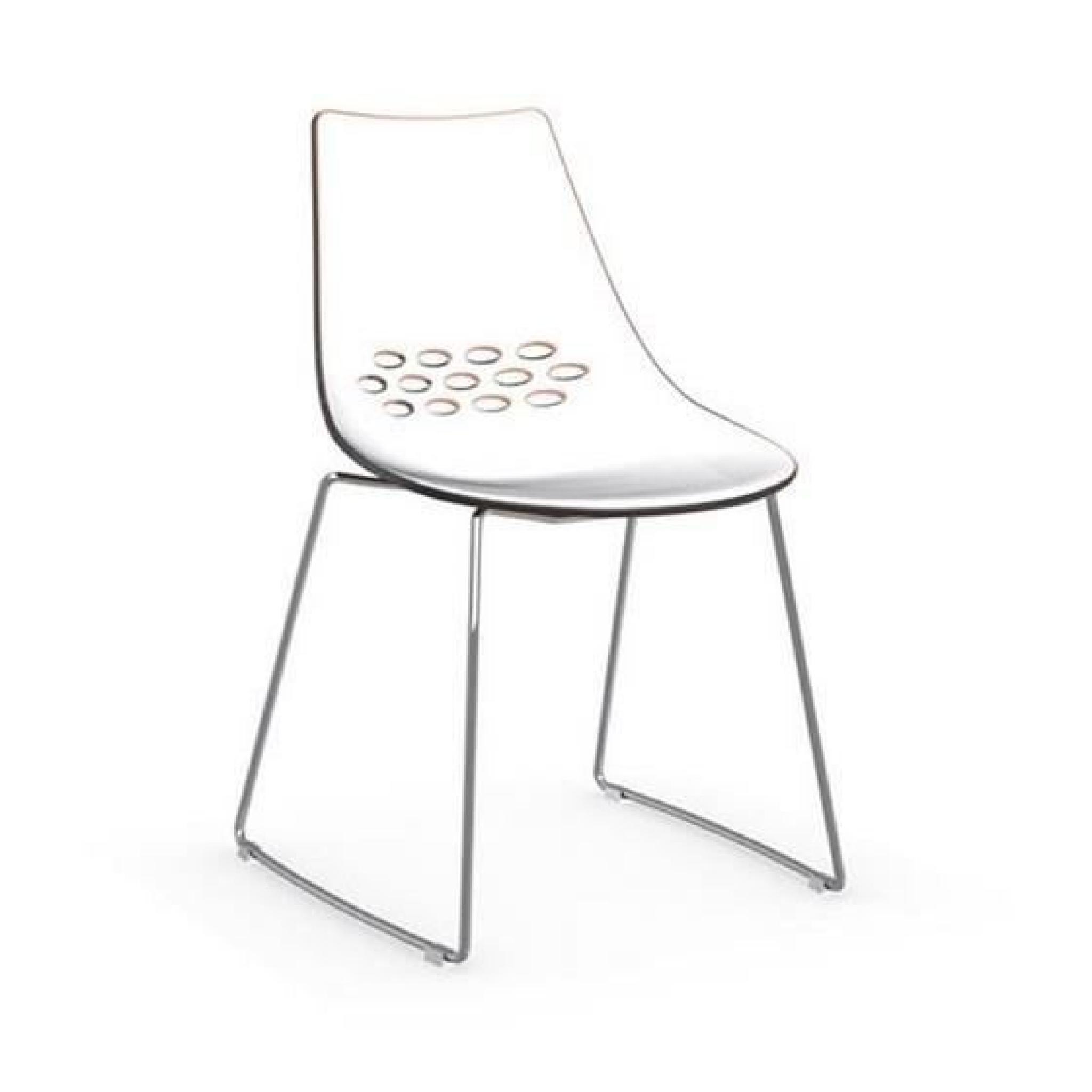 Chaise Design Jam Blanche Brillante Et Orange Transparente De