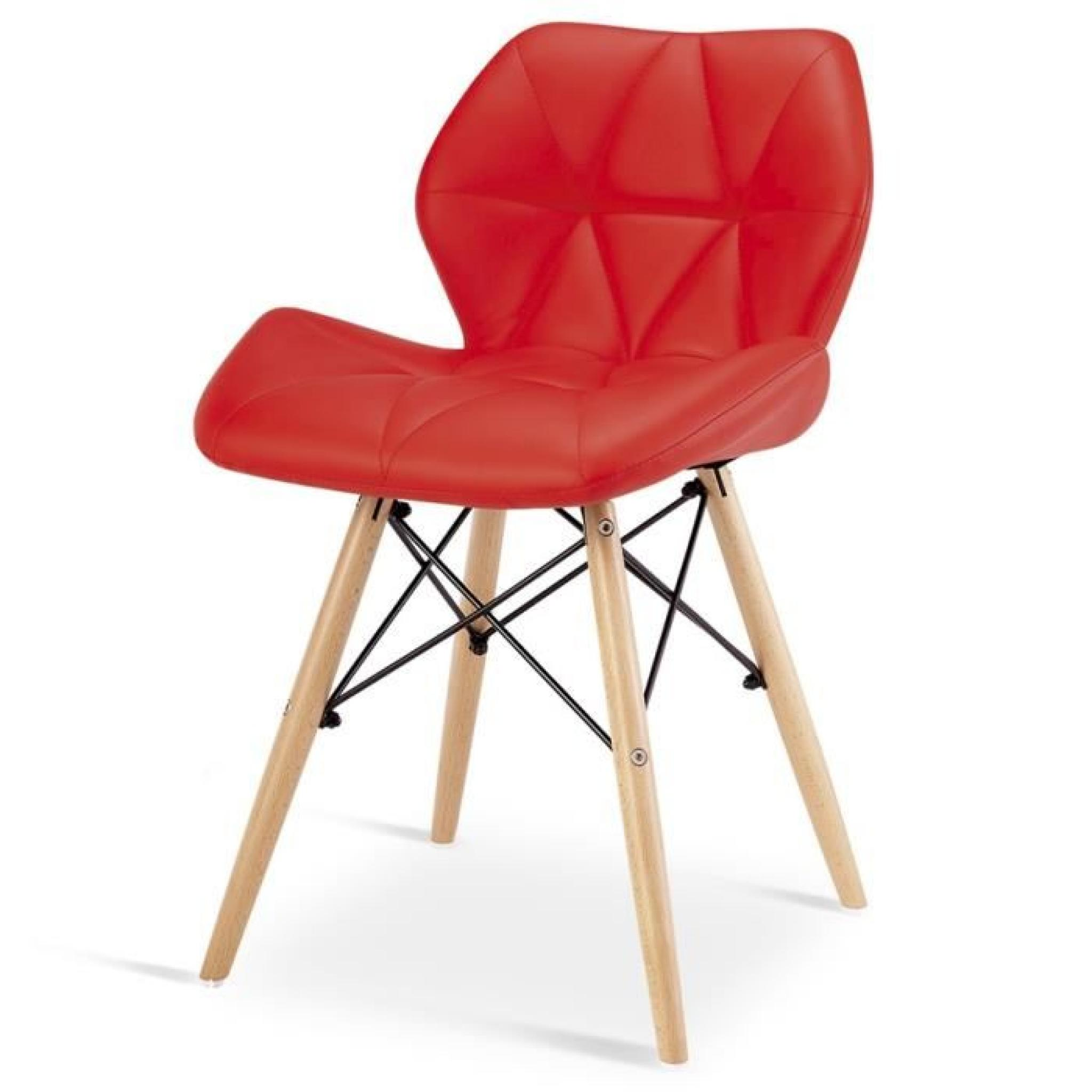 Chaise design ophir rouge pied en bois achat vente for Chaise en bois design