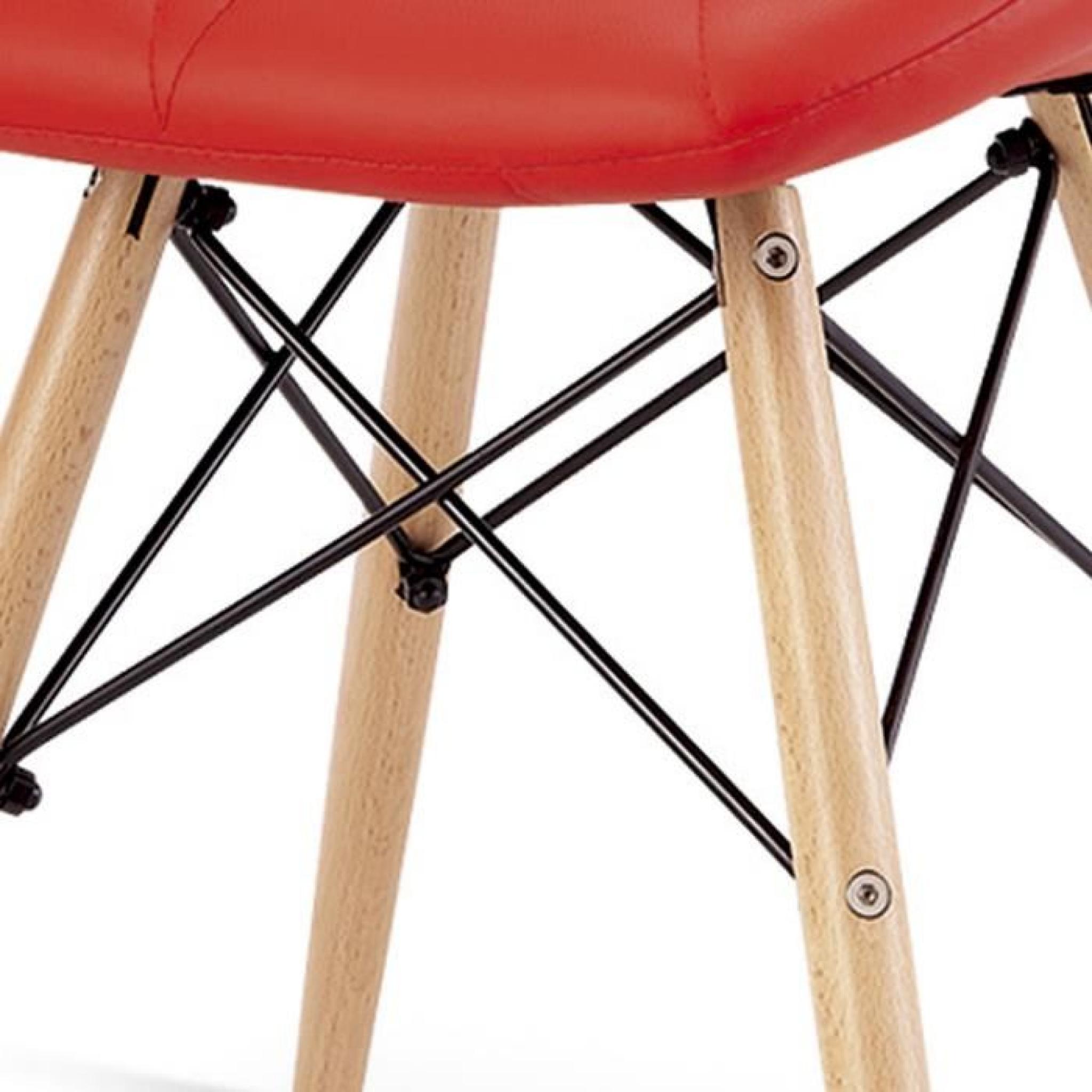 Chaise design ophir rouge pied en bois achat vente chaise salle a manger pa - Chaise en bois blanc pas cher ...