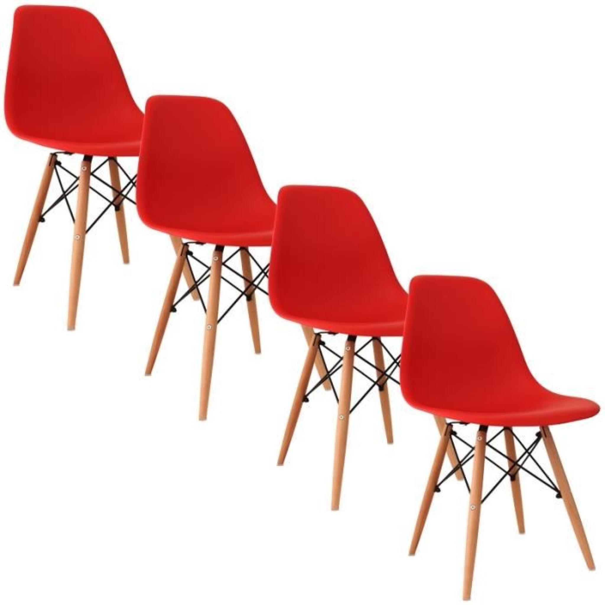 Chaise Design Rouge Pieds En Bois RETRO Lot De 4