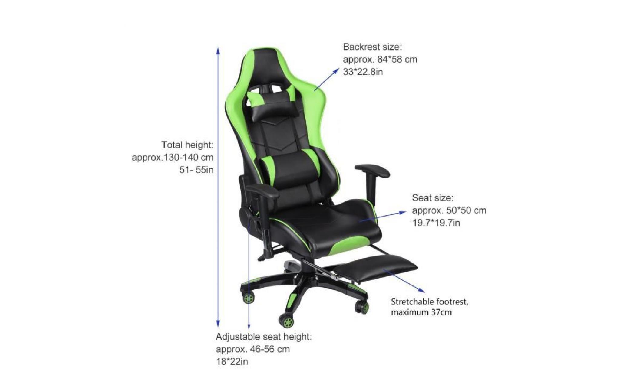 chaise gamer 135°fauteuil pivotant de jeu hauteur réglable pu cuir vert noir