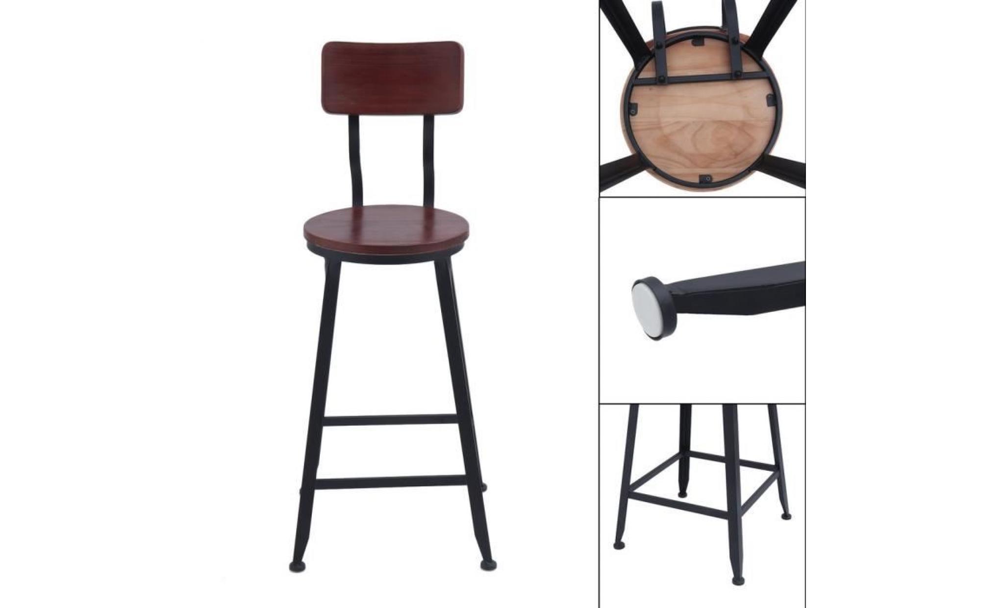 Chaise Haute Avec Dossier Tabouret De Bar En Bois Et Fer Style Industriel Vintage