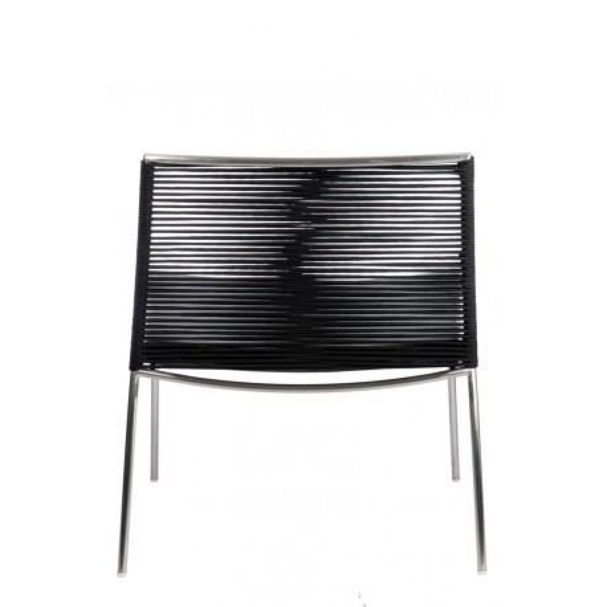 Chaise moderne lima en inox et assise cuir noir argent for Chaise inox pas cher