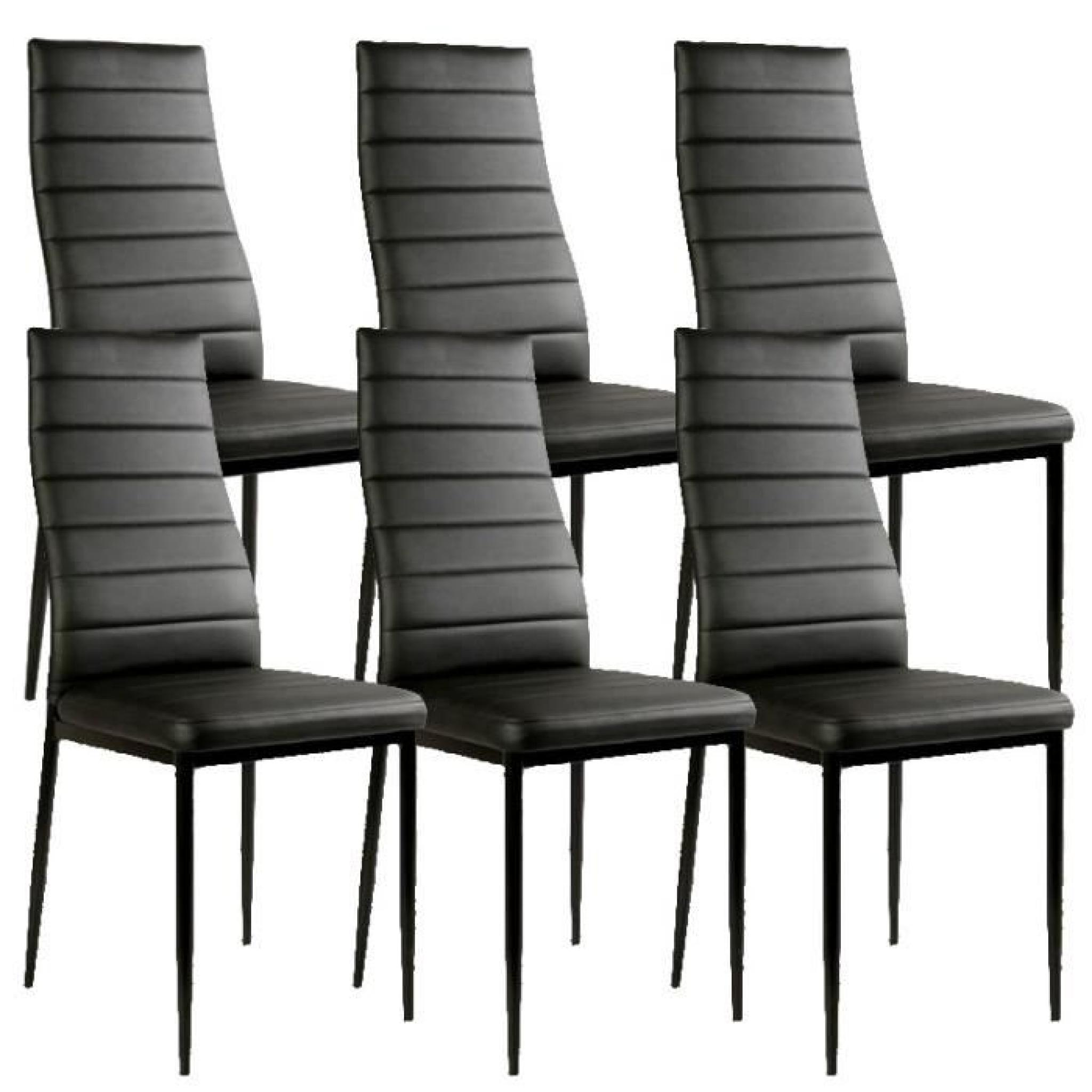 chaise noir giga matelass e lot de 6 achat vente chaise. Black Bedroom Furniture Sets. Home Design Ideas