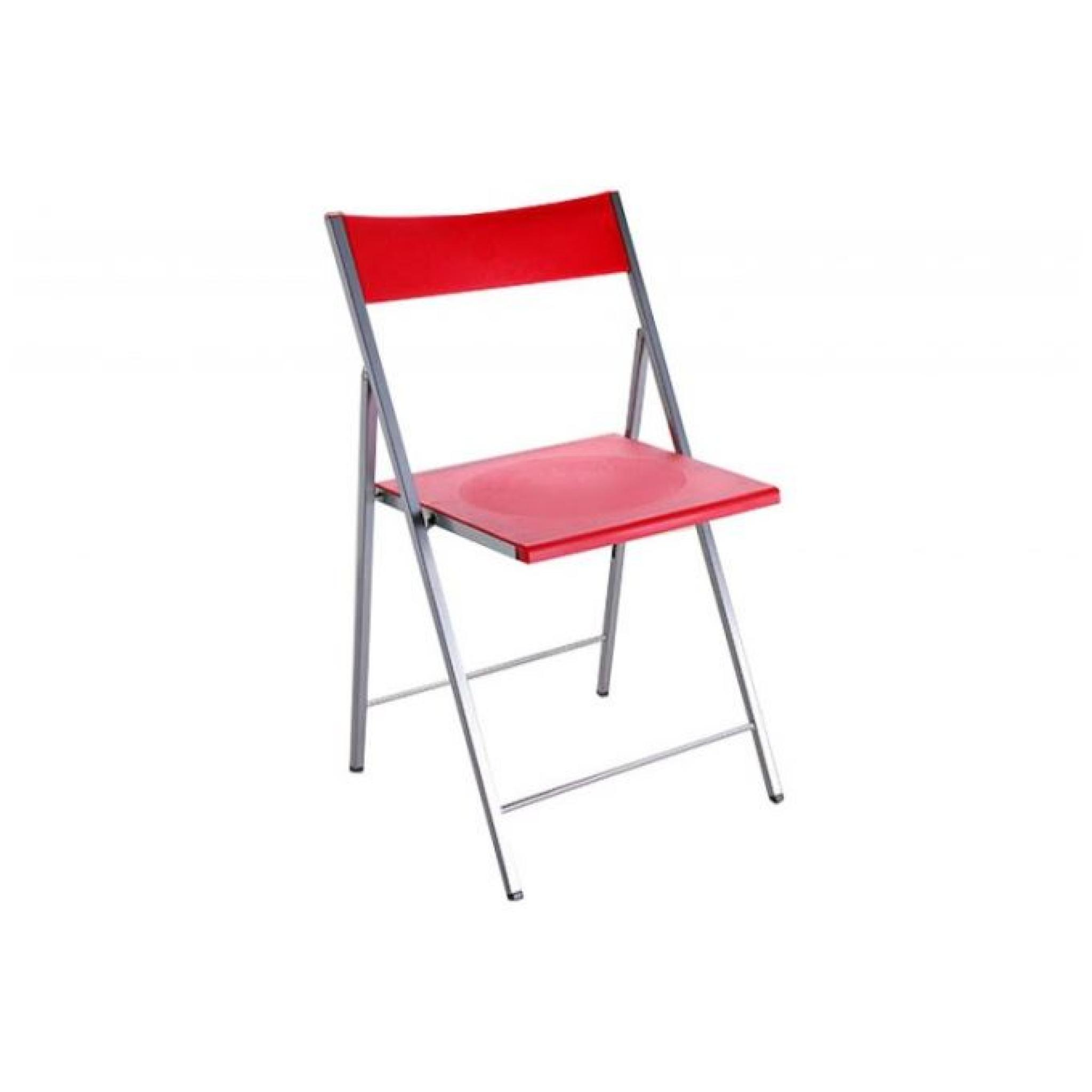 Chaise pliante rouge bilbao achat vente chaise salle a for Chaise rouge