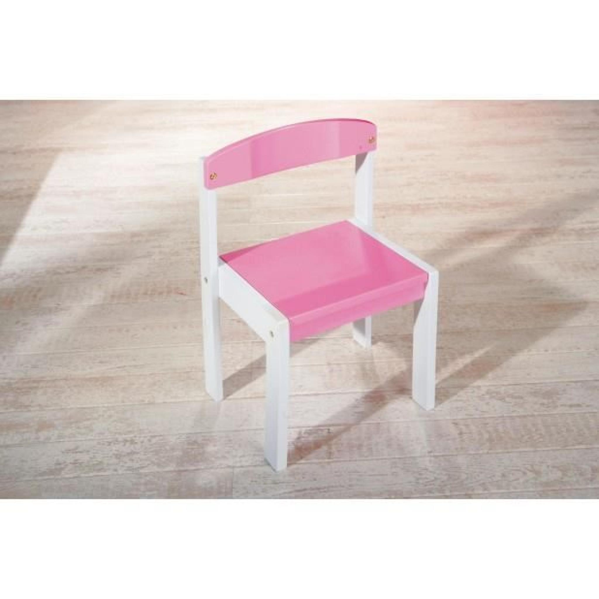 chaise pour enfant - pin massif & MDF rose & blanc